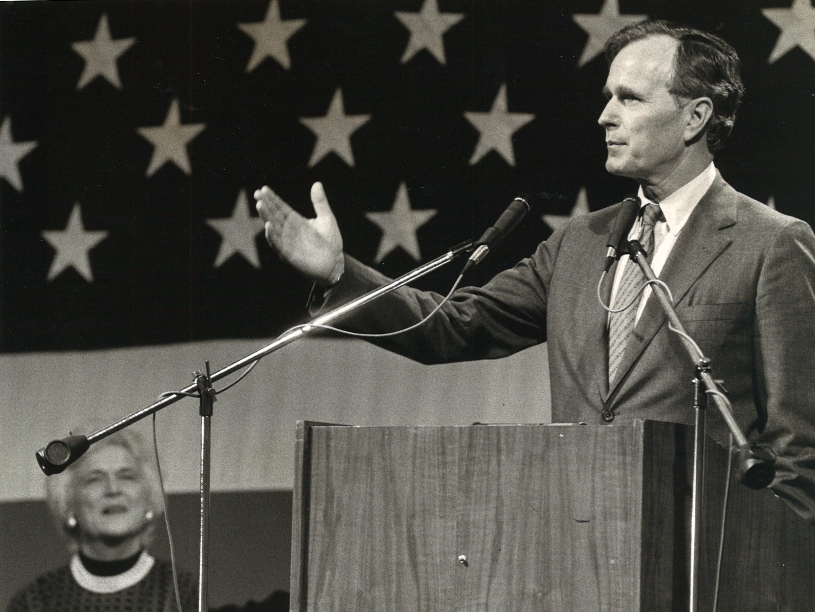 George Bush addresses auditorium audience in Corpus Christi in October 1983.