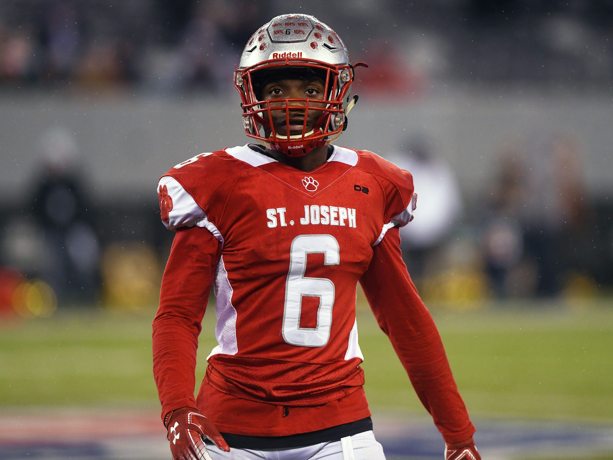 St. Joseph's Nate Johnson checks the sideline during a game against Holy Spirit. The Wildcats topped the Spartans, 41-22 at MetLife Stadium on Friday, November 30, 2018.
