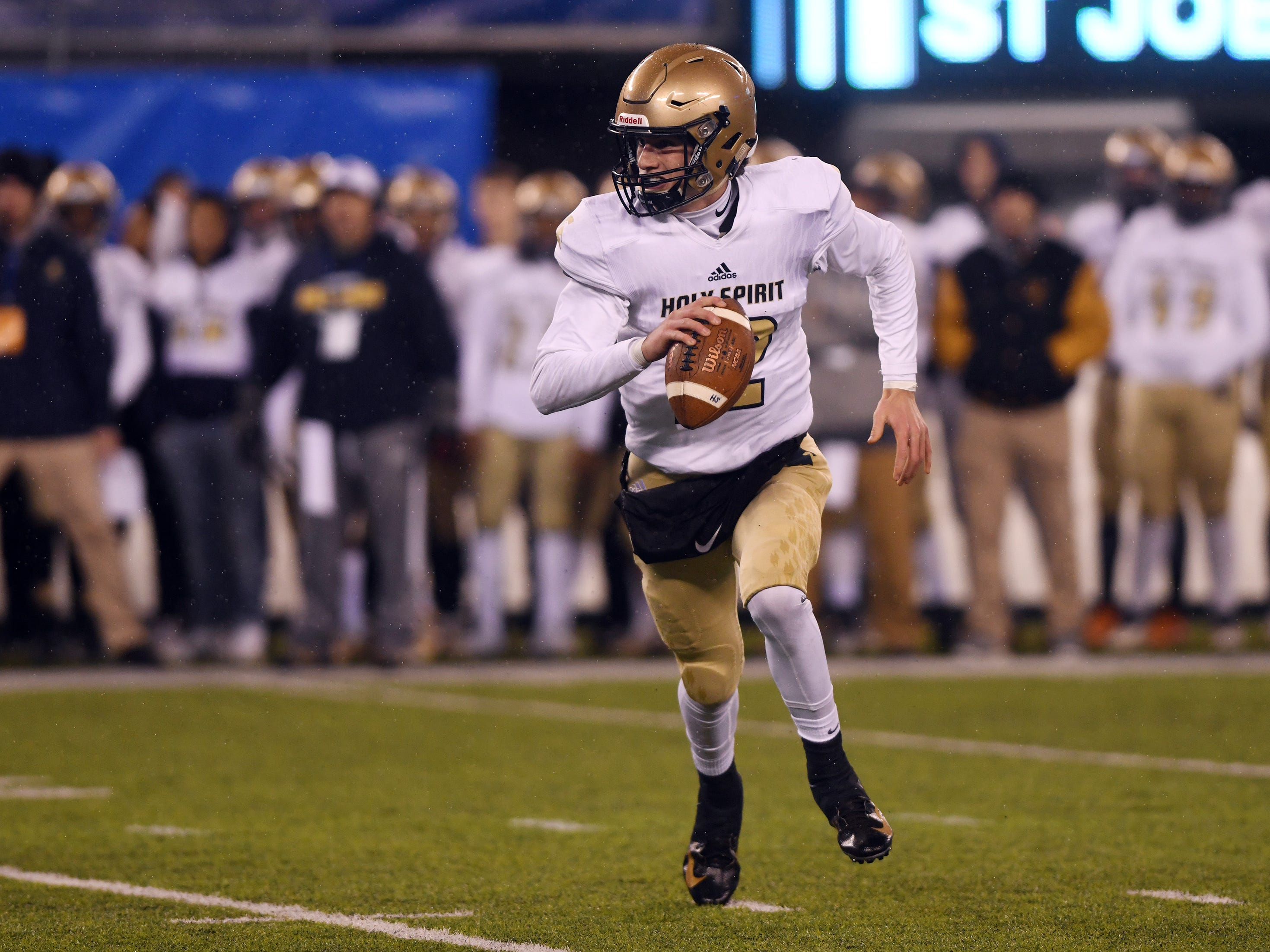 Holy Spirit's QB, Ryan Yost looks for a open receiver during a game against St. Joseph. The Wildcats defeated the Spartans, 41-22 at MetLife Stadium on Friday, November 30, 2018.