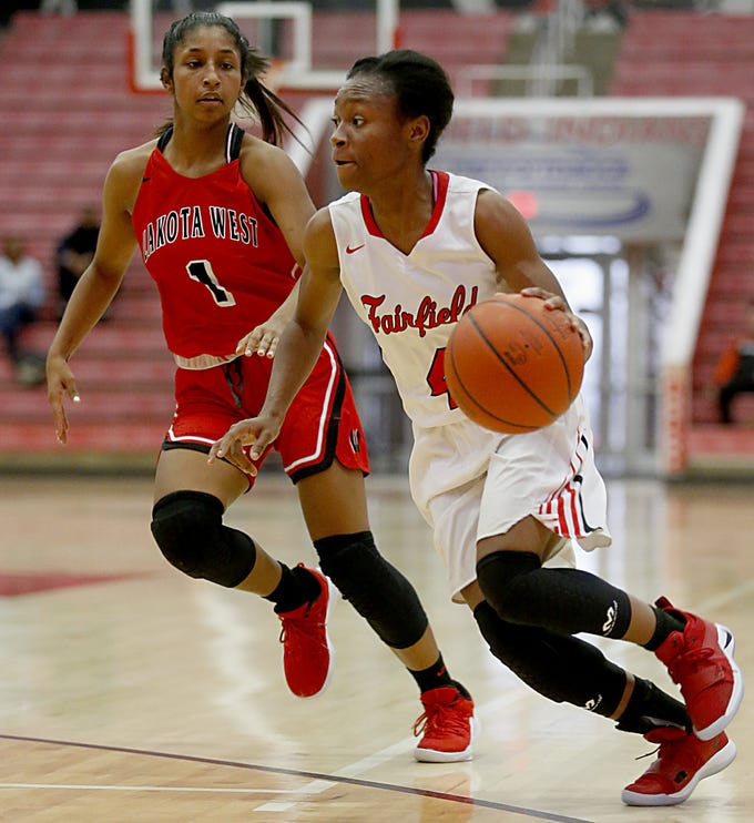 Fairfield guard Zahrya Bailey drives to the basket against Lakota West during their game at Fairfield Saturday, Dec. 1, 2018.