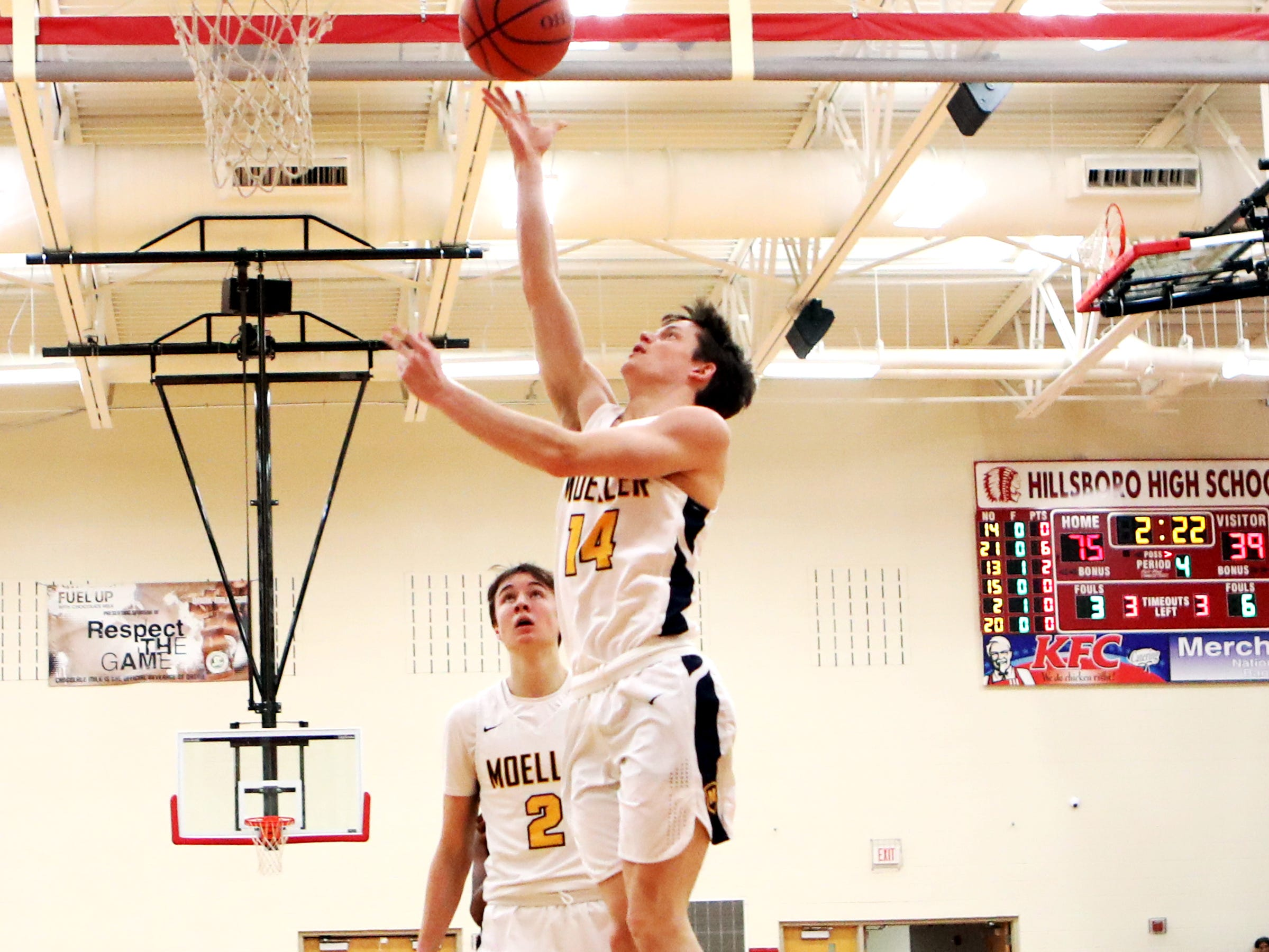 Moeller guard Garde Thompson scores at the Ohio Valley Hoops Classic at Hillsboro High School. Moeller defeated Bryan Station 85-42.