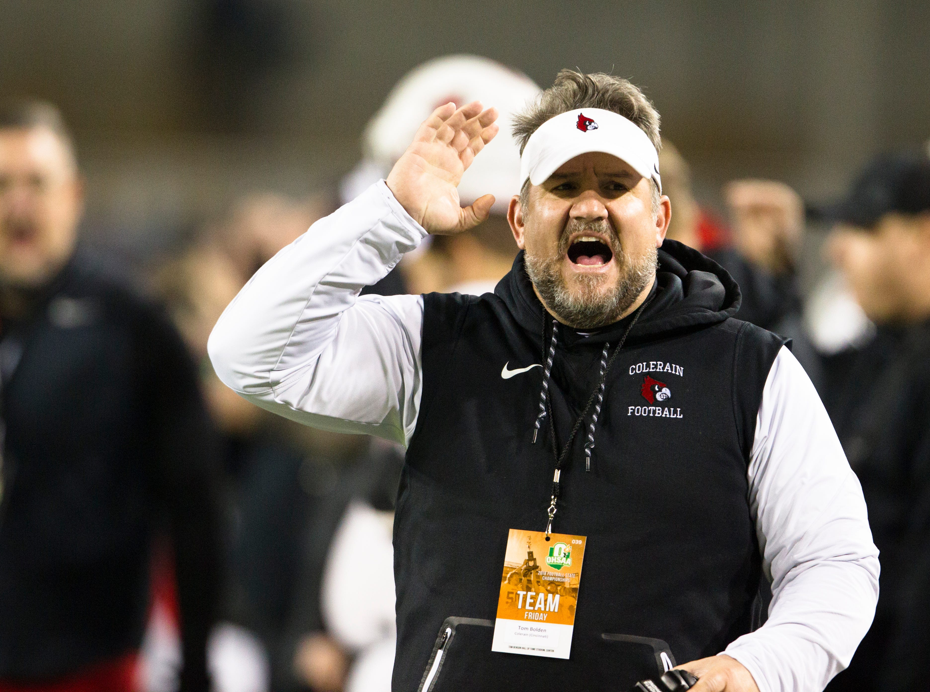 Colerain's Tom Bolden screams during the first half of the OHSAA Div. I State Championship football game between St. Edwards and Colerain on Friday, Nov. 30, 2018, at Tom Benson Stadium in Canton.