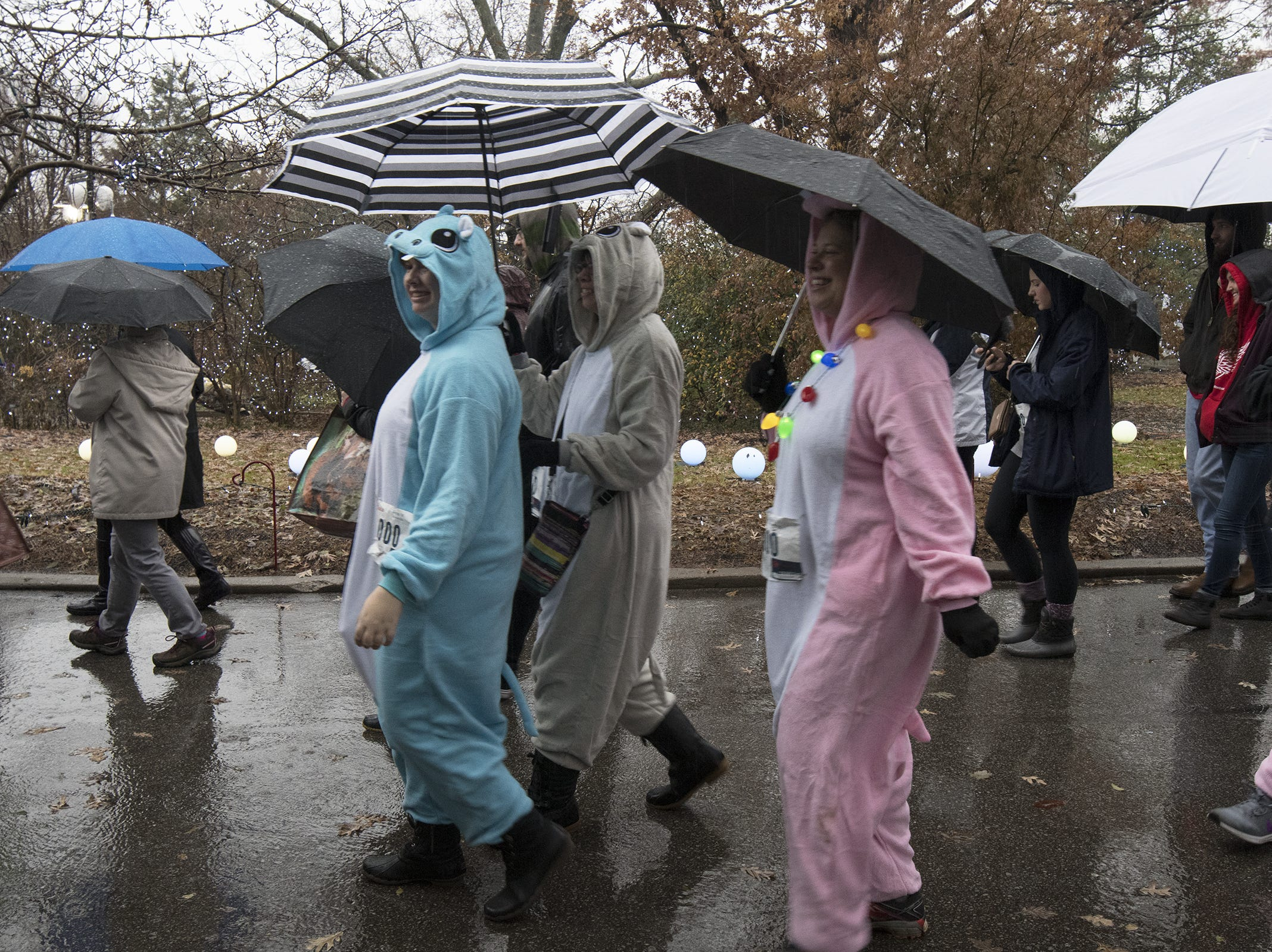 Rain doesn't stop hundreds of avid Fiona fans from coming out to the Cincinnati Zoo to walk a 1k in honor of the beloved hippo's 1,000-pound milestone Saturday, December 1, 2018 in Cincinnati, Ohio.