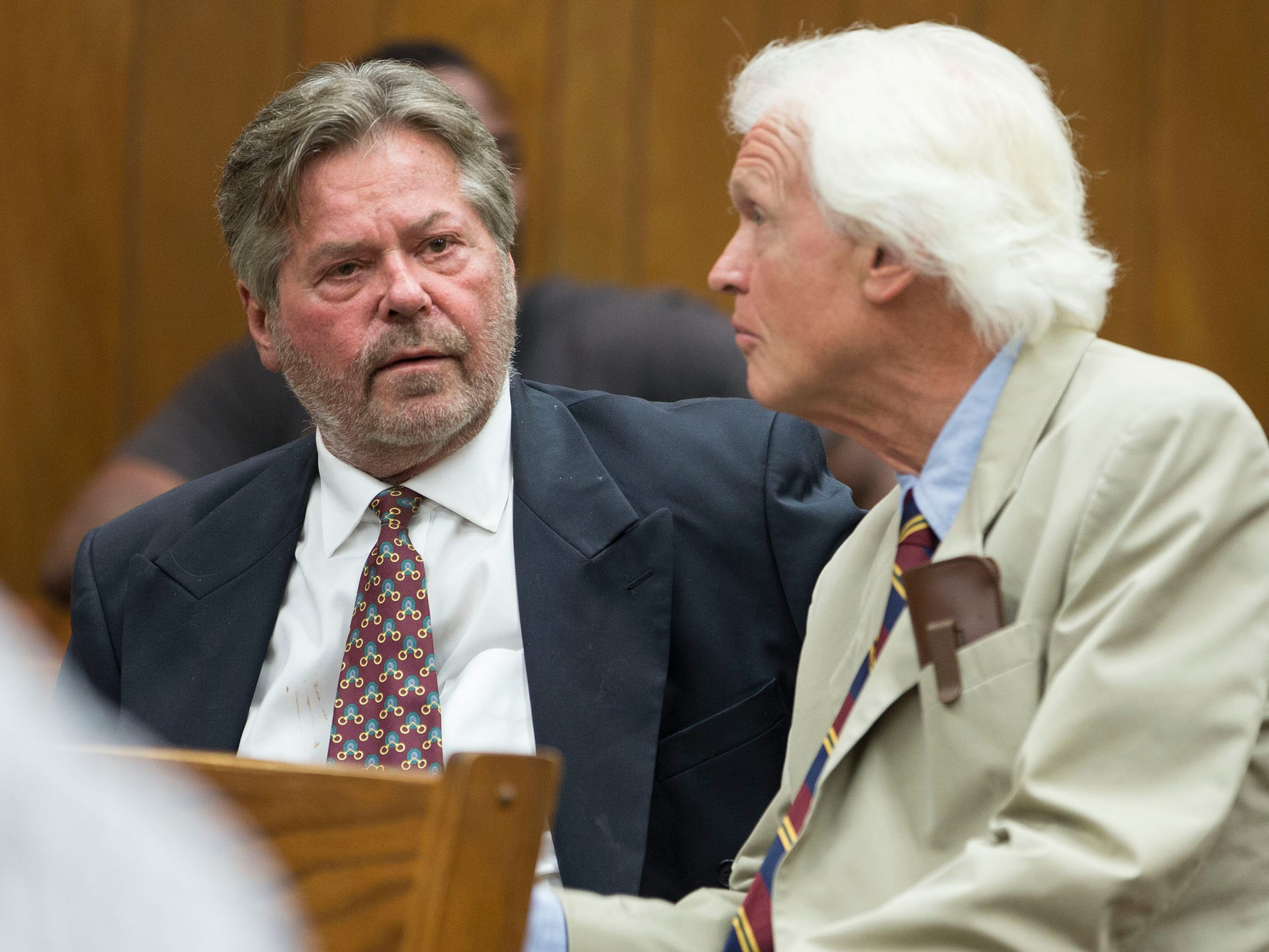 Robert T. Merriken Sr., a Spring Lake Heights councilman who was arrested in April on drug paraphernalia possession charges, appears in Neptune Municipal Court before Judge Robin T. Wernik. Merriken confers with his defense attorney Charles F. Shaw III. Neptune, NJ on Thursday, July 19, 2018