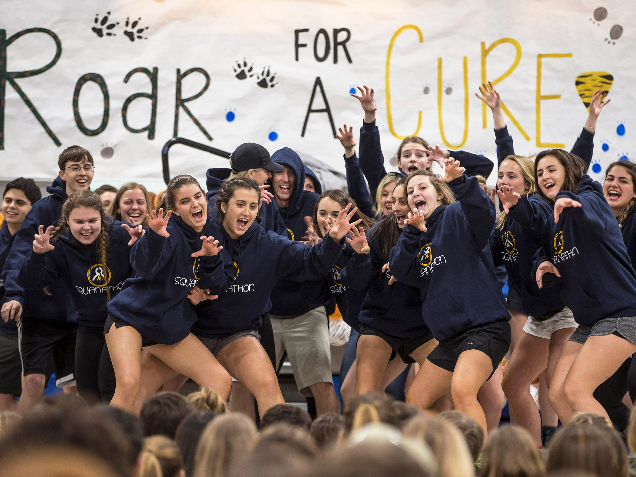 Squanathon is a 12-hour overnight dance-a-thon for students of Manasquan High School that annually raises more than $100,000 for pediatric cancer. The total amount raised this year is $142,570. Students dance during the event. Manasquan, NJ on Saturday, March17, 2018
