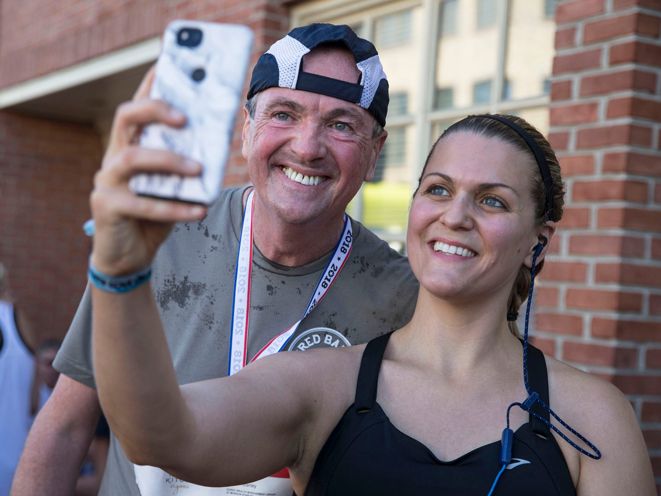 Gov. Phil Murphy and his wife, Tammy, participate as runners in the 5K Red Bank Classic in downtown Red Bank with approximately 1,100 others.  Red Bank, NJ on Saturday, June 16, 2018