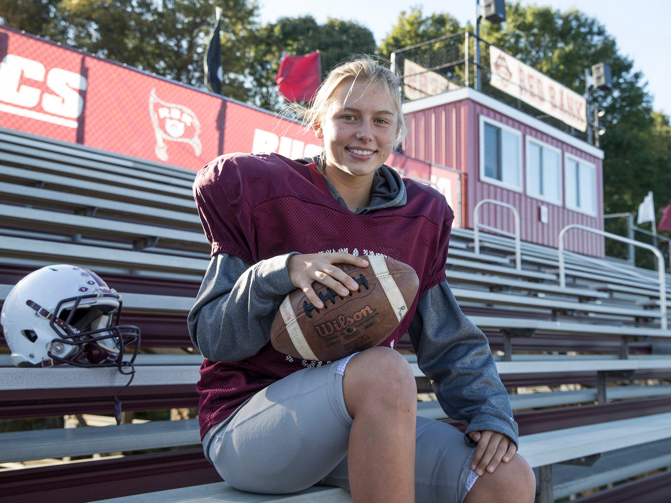 Liva Helt is an elite female soccer player who now plays football as a kicker for the varsity team at Red Bank Regional High School.  Little Silver, NJ on Thursday, October, 25, 2018