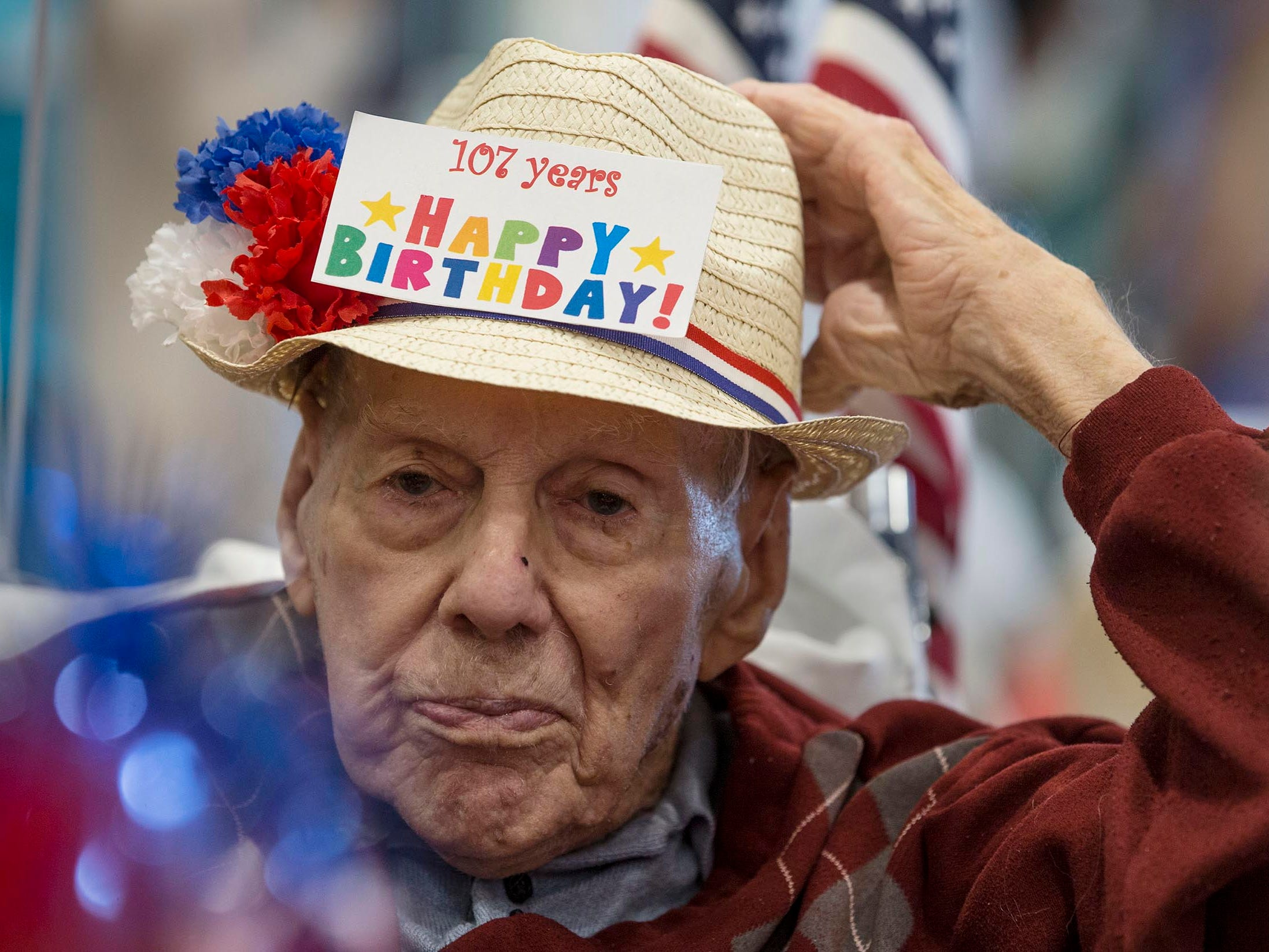 World War II veteran and Flying Tiger Bill Laun of Manchester, is honored with a party for turning 107 years old in  Manchester, NJ on June 8, 2018