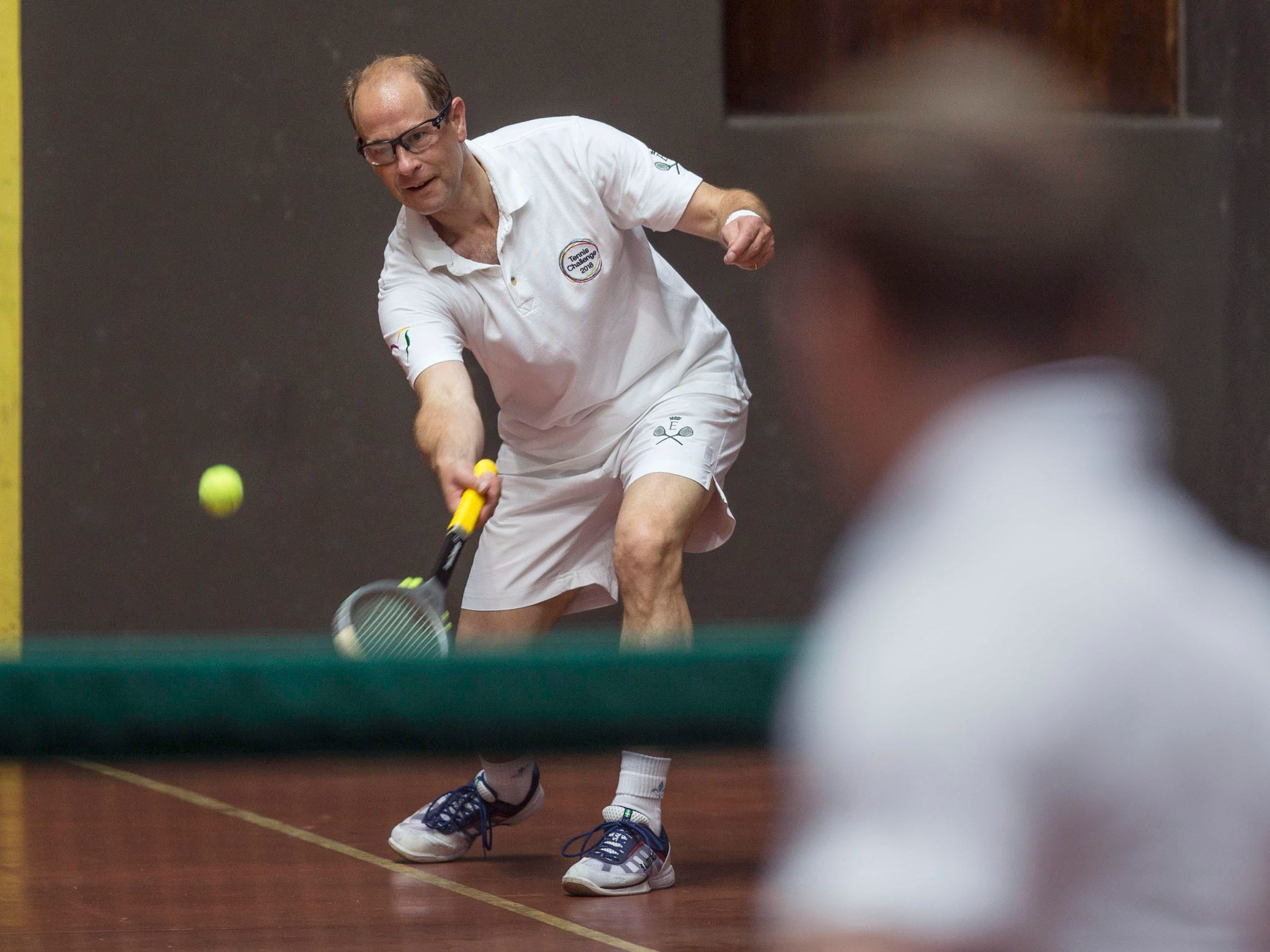 Prince Edward, Earl of Wessex, visits Georgian Court University during the Tennis Challenge 2018. The prince played Court Tennis on one of only nine courts in the country to bring awareness and support for his International Award.  Lakewood, NJ on Wednesday, September 13, 2018
