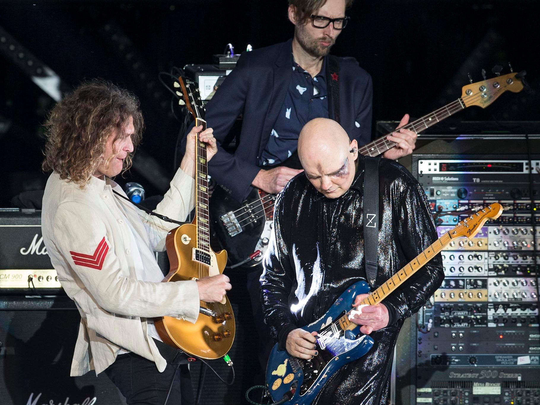 Dave Keuning and Mark Stoermer of The Killers join the Smashing Pumpkins on stage. The Smashing Pumpkins perform their 30th anniversary concert at PNC Arts Center with a number of special guests for the occasion.  Holmdel, NJ on Thursday, August 2, 2018