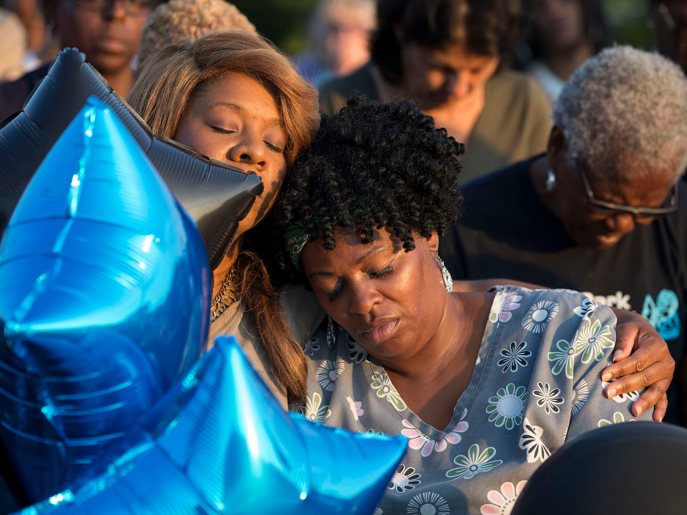Stacy Walker of Asbury Park remembers James  during the vigil. Members of the Asbury Park community come together at the Donald Hammary Basketball Courts to remember the life of James Famularo who lost his life in a fire this past week.  Asbury Park, NJ on Thursday, July 12, 2018