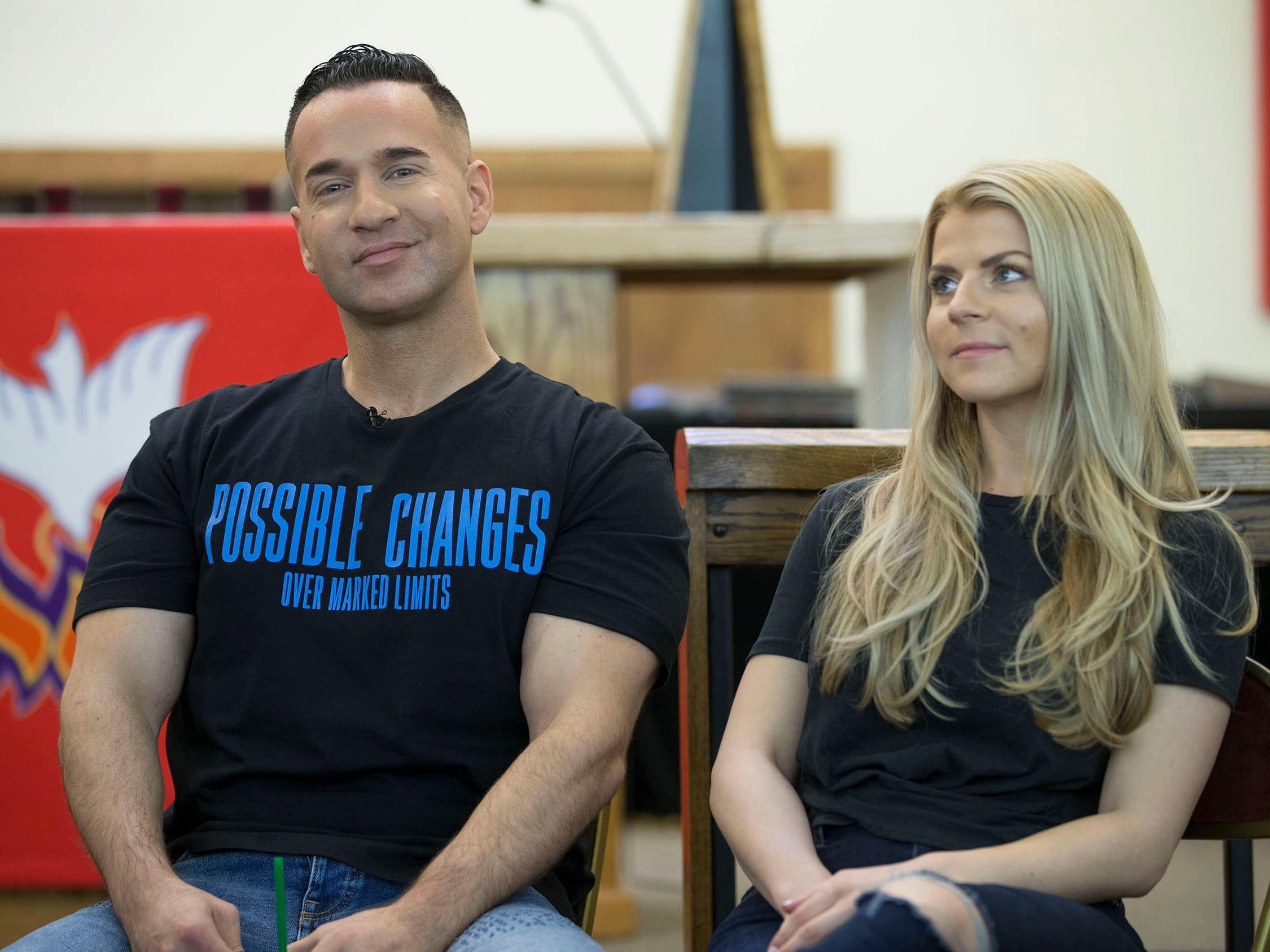 "Mike with his fiancé Lauren Pesce. Mike ""The Situation"" Sorrentino  speaks about his evolution from poster boy for bad boy behavior as a cast member of Jersey Shore to a recovering addict and mature, sober cast member of the popular Jersey Shore Family Vacation. He is speaking at a meeting for Hope Sheds Light, a recovery group meeting at the Holy Cross Lutheran Church.  Toms River, NJ on Tuesday, May 22, 2018"