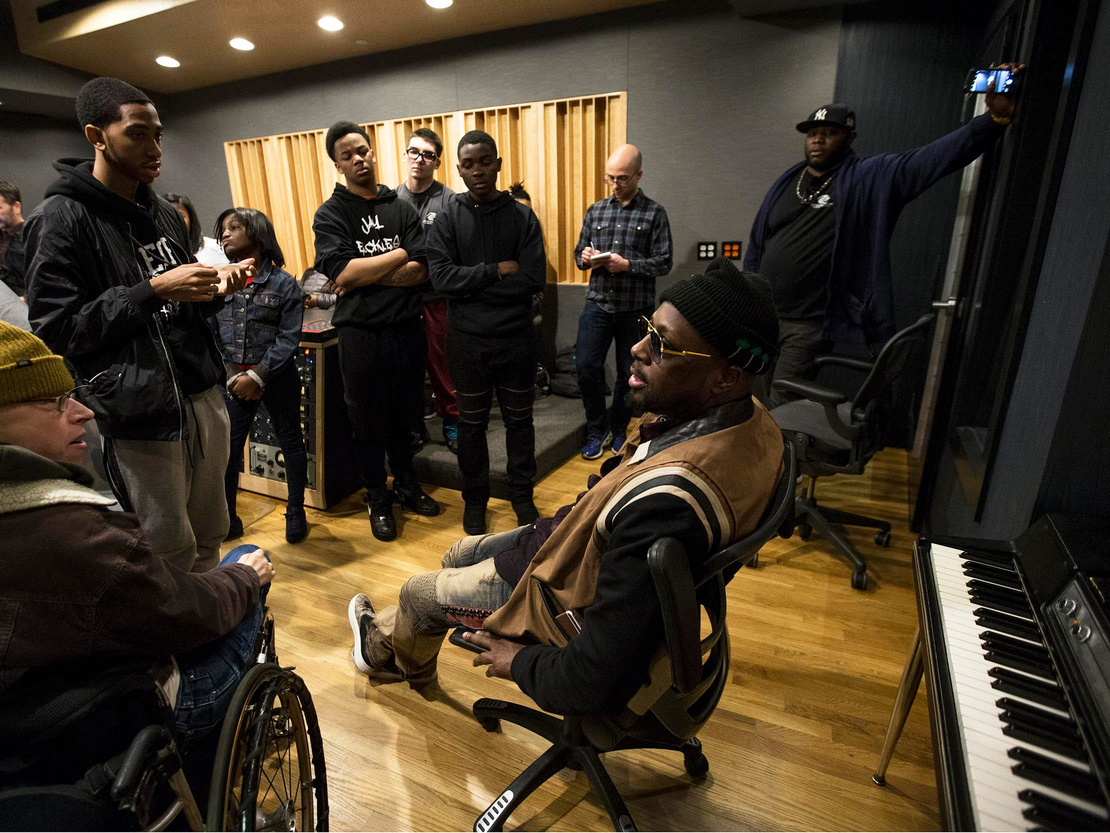 Musician Wyclef Jean drops in to Lakehouse Music Academy to talk with members of the Asbury Park Music Foundation. Wyclef spent a few hours with the kids discussing his career, creating music, and offered advice of how to be successful in life.  Asbury Park, NJ on Tuesday, February 27, 2018