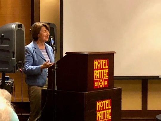 Minnesota Sen. Amy Klobuchar speaks to the Iowa Farmers Union Dec. 1, 2018.