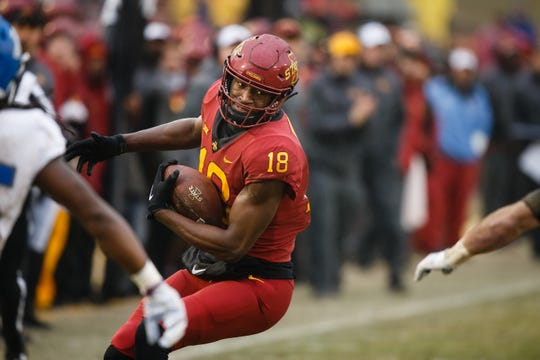 Iowa State's Hakeem Butler (18) catches a pass and turns up field during their football game against Drake at Jack Trice Stadium on Saturday, Dec. 1, 2018, in Ames.