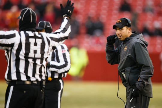 Iowa State head coach Matt Campbell calls a timeout during their football game at Jack Trice Stadium on Saturday, Dec. 1, 2018, in Ames.