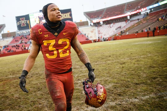 Iowa State's David Montgomery (32) walks off the field after ISU defeated Drake 27-24 during their football game at Jack Trice Stadium on Saturday, Dec. 1, 2018, in Ames.