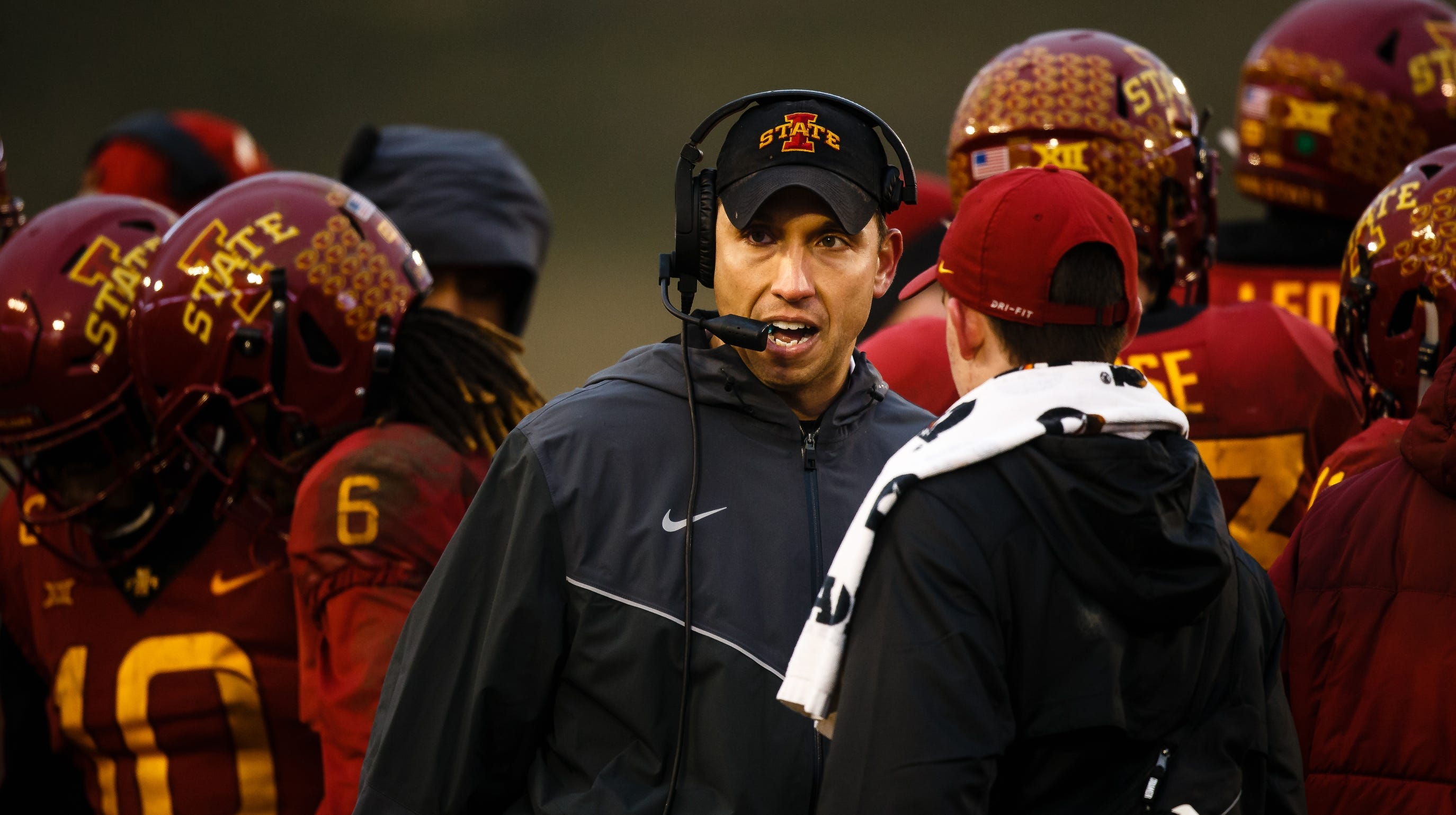 Matt Campbell talks to his team during a timeout during their football game against Drake at Jack Trice Stadium on Saturday, Dec. 1, 2018, in Ames. Iowa State would go on to win 27-24.