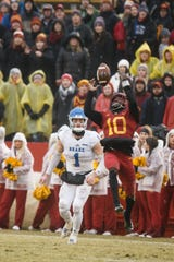 Iowa State's Brian Peavy (10) intercepts a pass intended for Drake's DevinÊCates (1) during their football game at Jack Trice Stadium on Saturday, Dec. 1, 2018, in Ames.