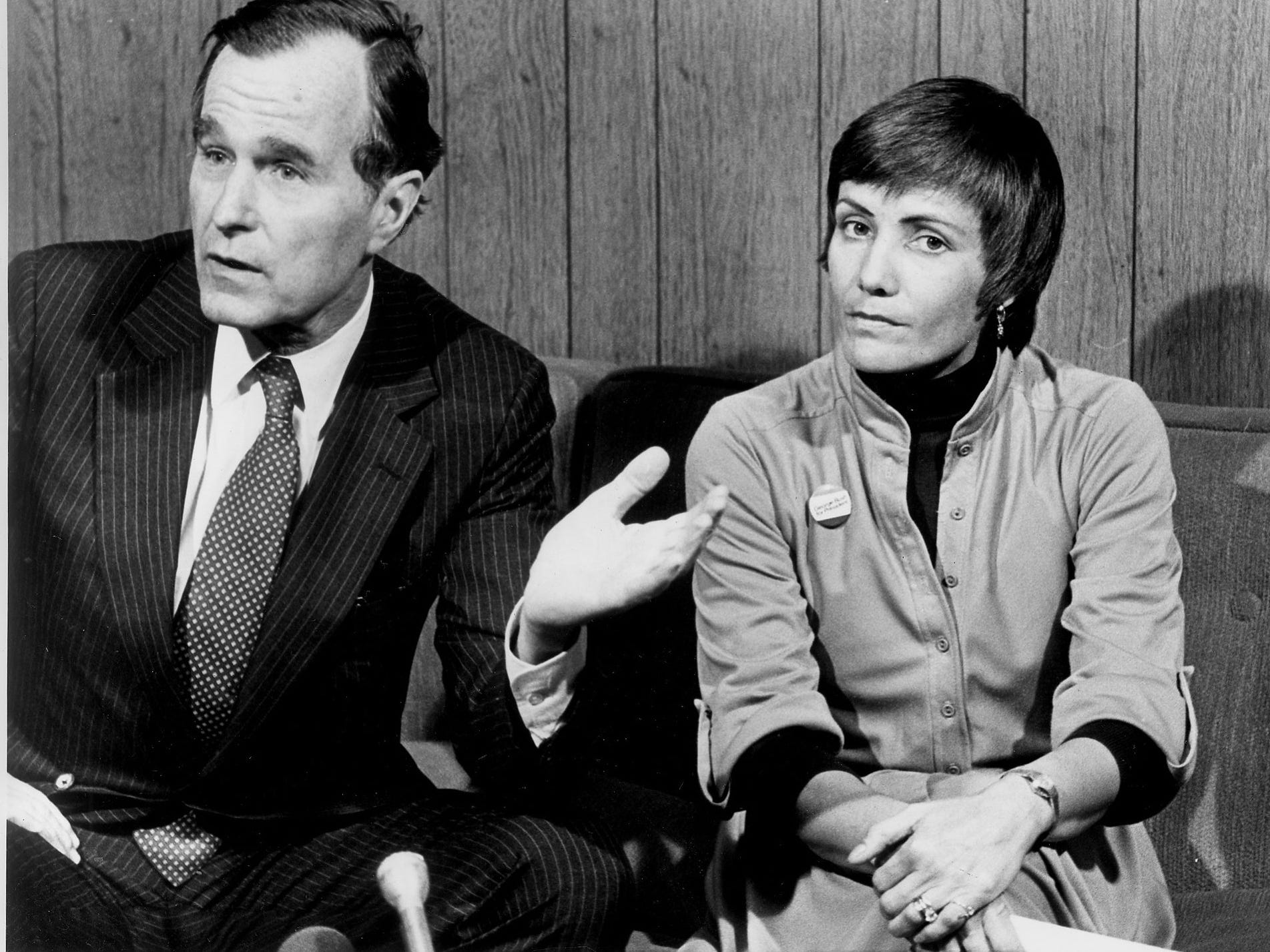 George Bush introduces his Michigan Campaign Director, Loret Ruppe at the Detroit Press Club in November 1979.