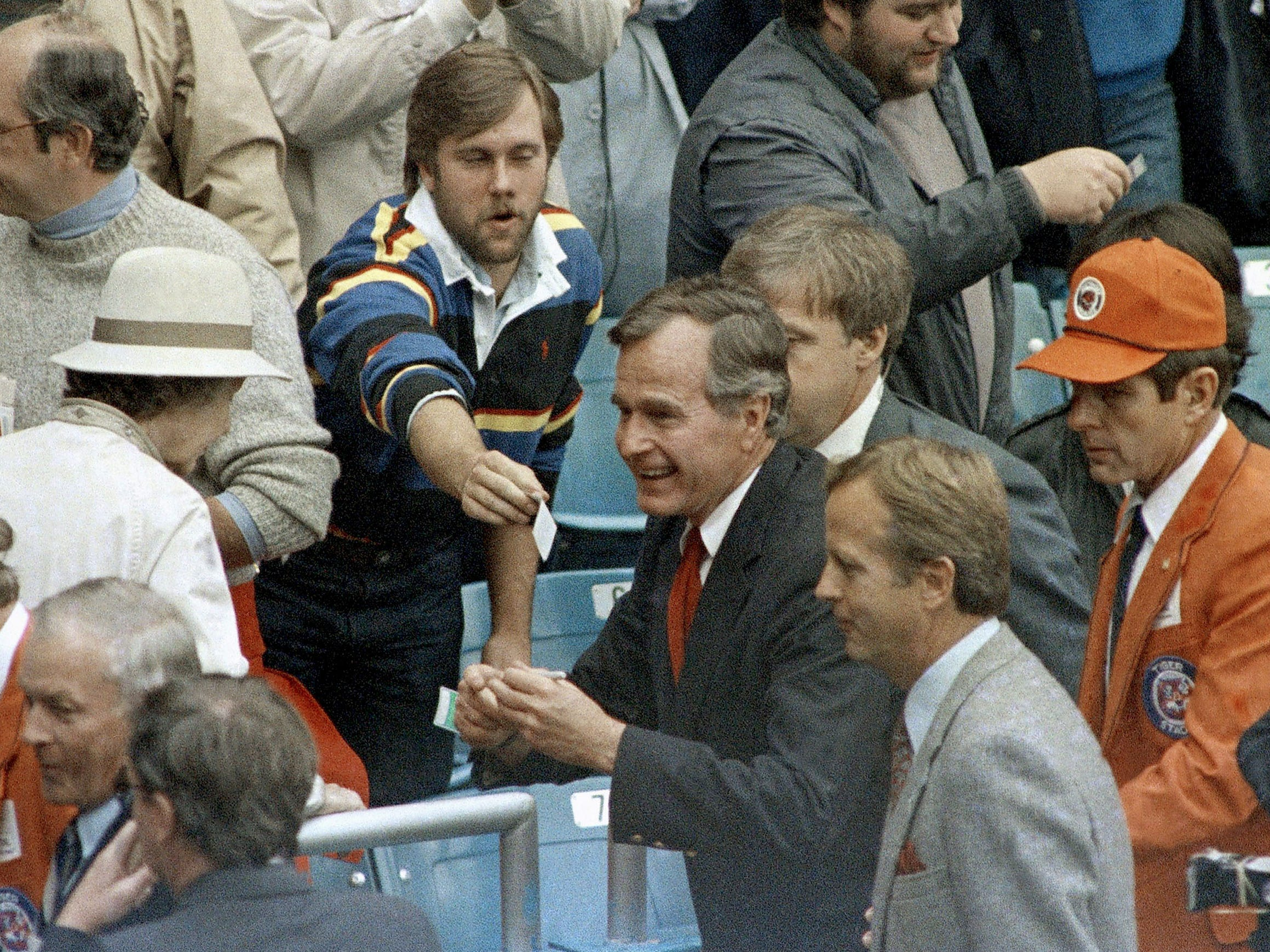 Vice-President George H. Bush at Tiger Stadium for Game 5 of the World Series between the Detroit Tigers and the San Diego Padres on Oct. 14, 1984 in Detroit.