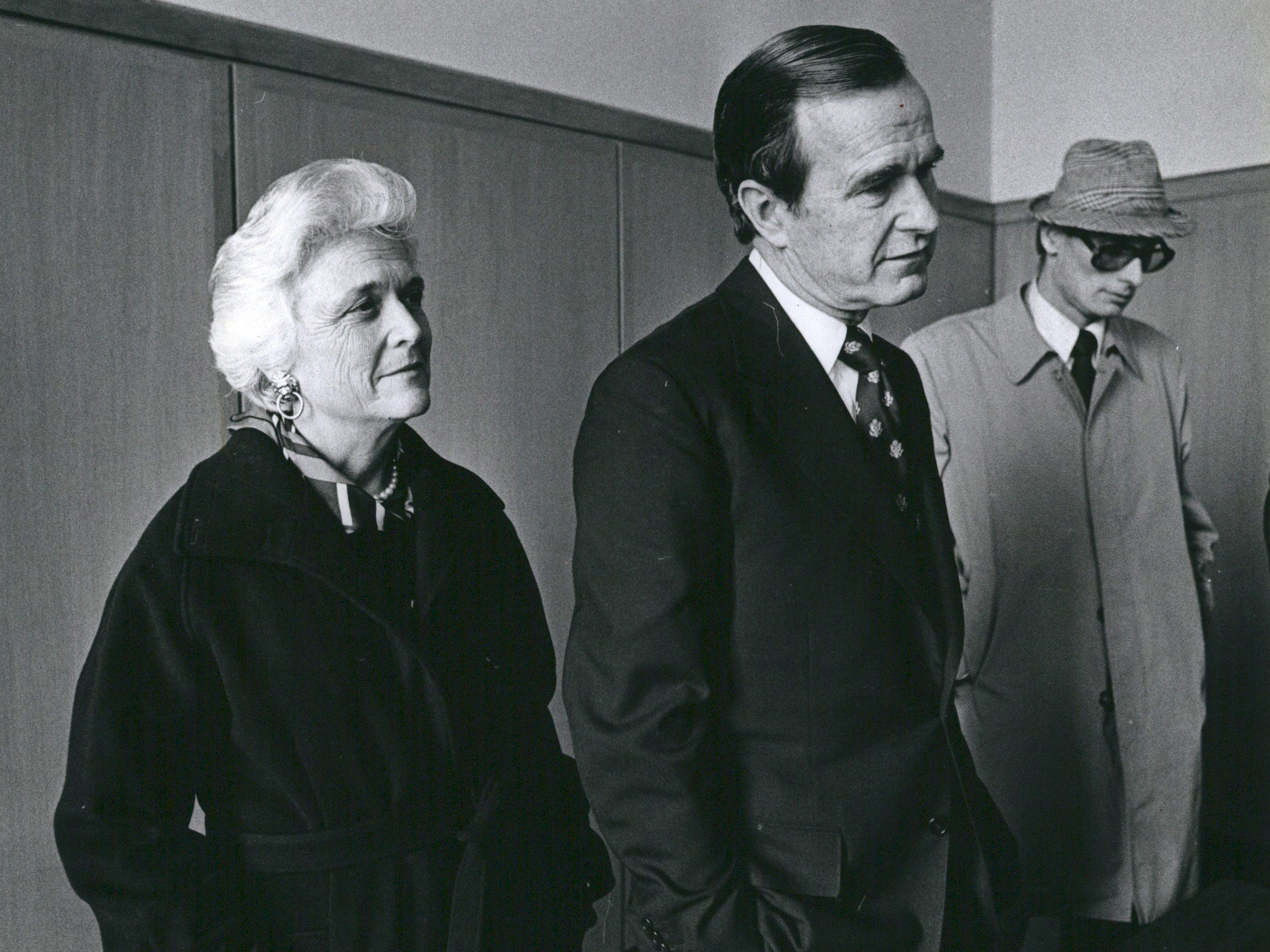 Barbara Bush with her husband George Bush in Detroit in March 1979.