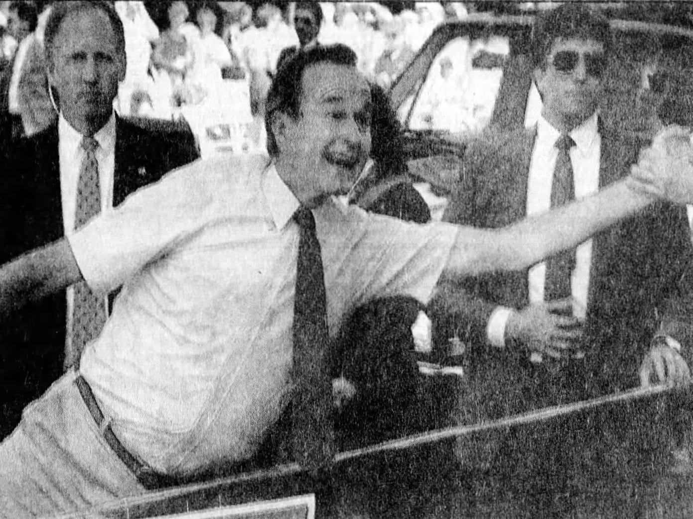 Vice President George Bush at the Forth of July parade in Wyandotte in 1988