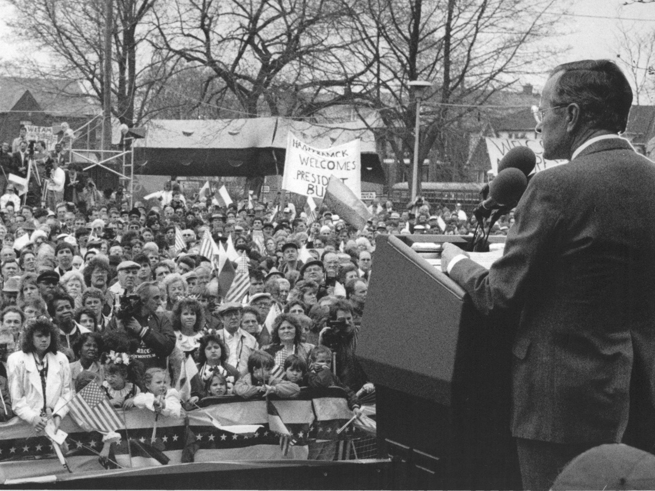 President George Bush visits Hamtramck in April 1989.