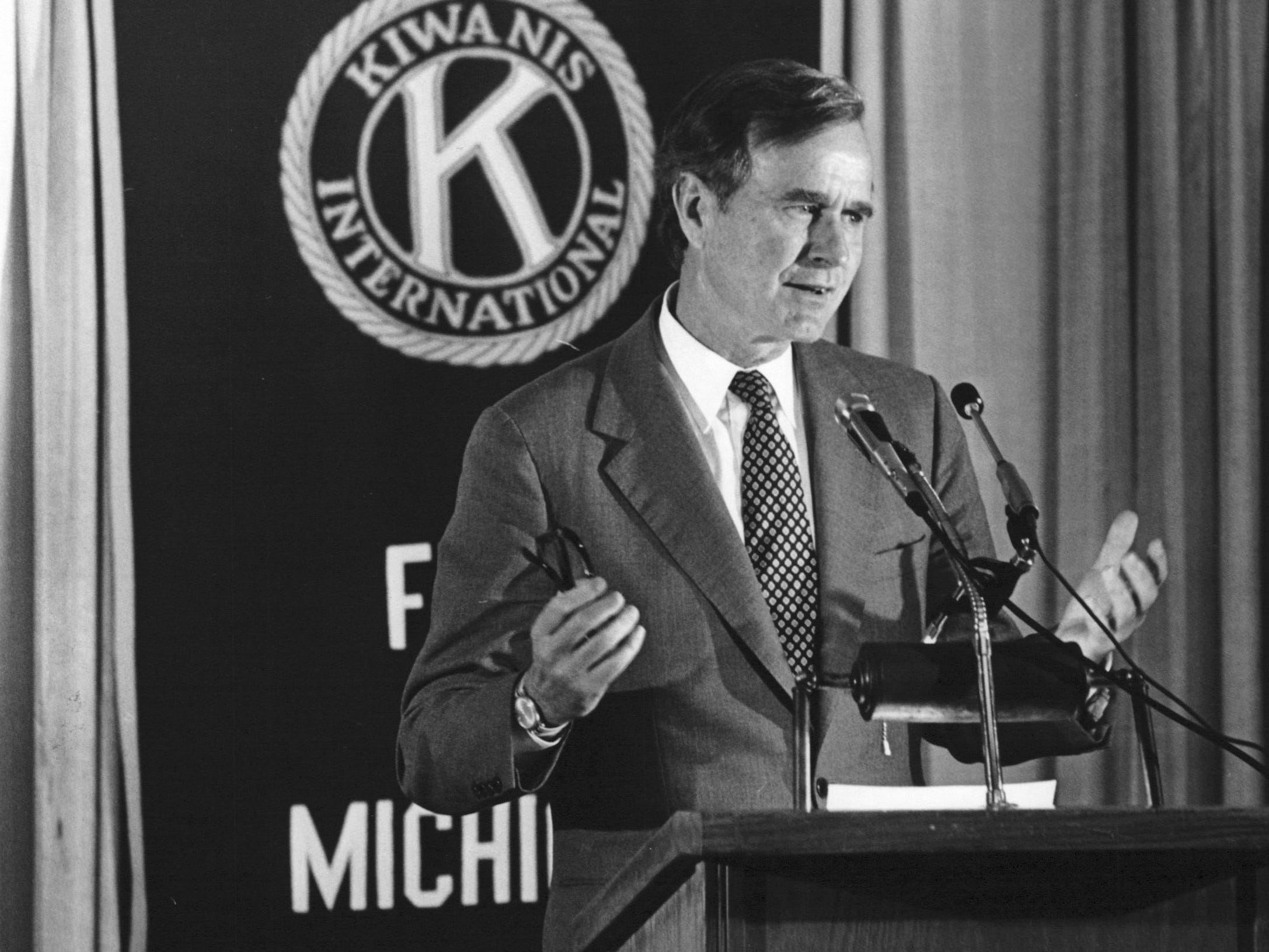 George H.W. Bush gives a speech to the Kiwanis Club of Flint, Michigan. in September 1980.