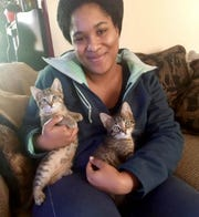 Sydnee Thompson of Troy and two cats she adopted from the Ferndale Cat Shelter. The story was shared and won a $10,000 grant for Ferndale Cat Shelter from the Petco Foundation.