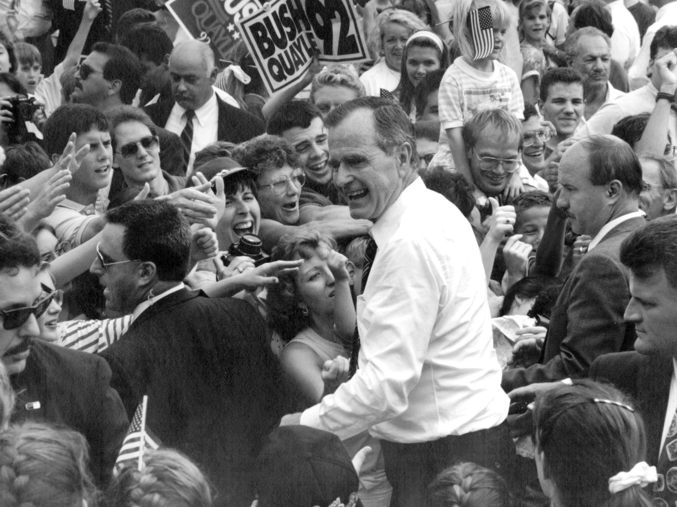 President George Bush greets well-wishers after addressing about 5,000 at Heritage Park in Canton Township in August 1992.