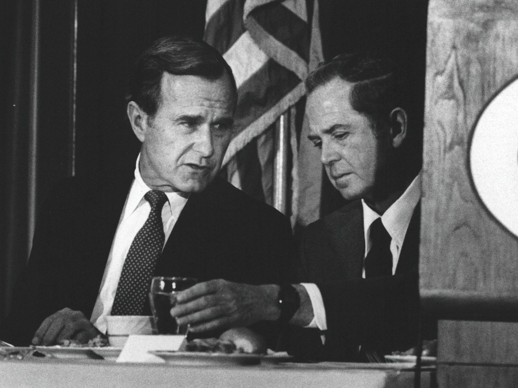 Michigan Governor William Milliken, right, and George H. W.  Bush at the Detroit Economic Club in September 1980.