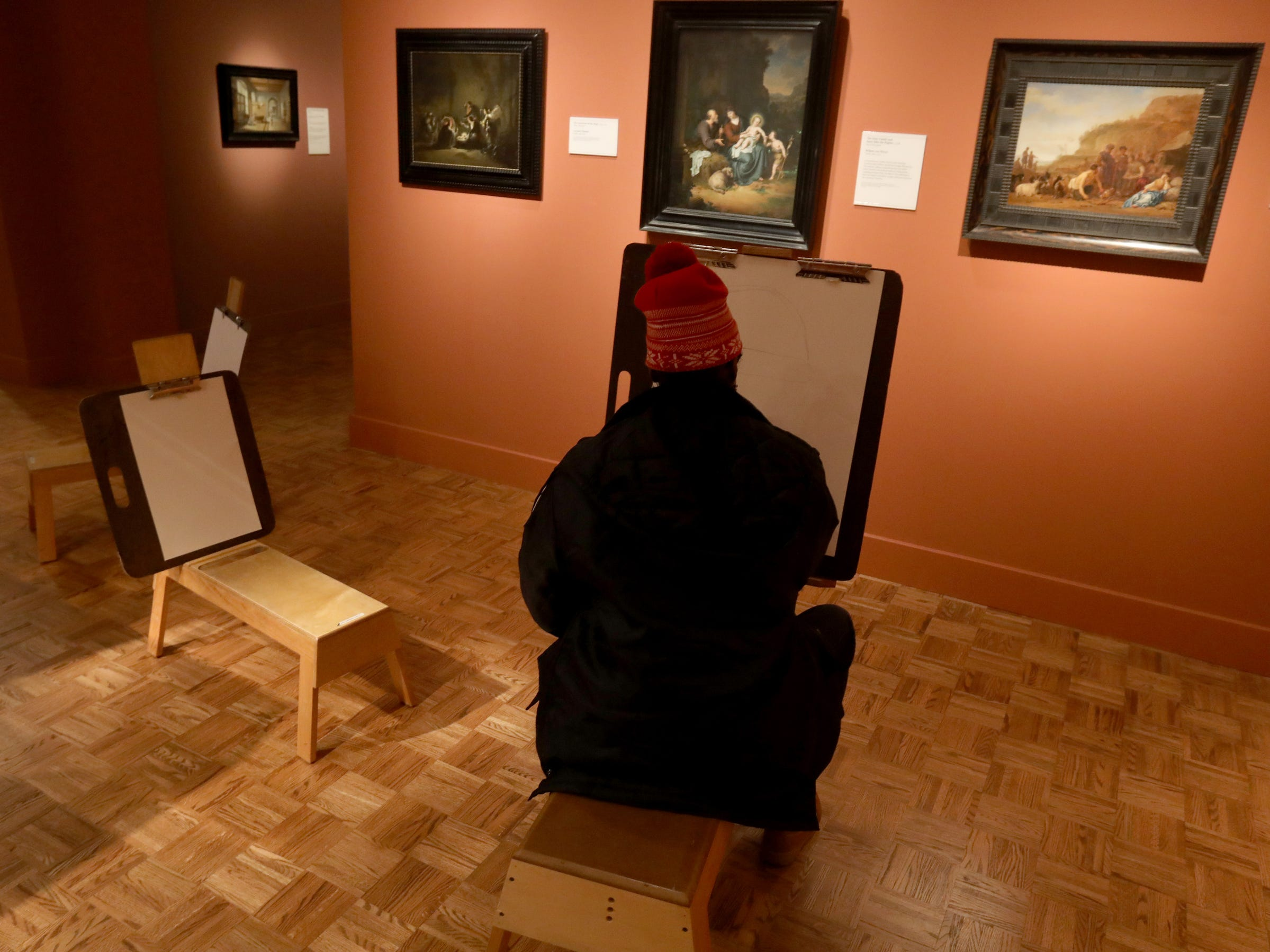 One of the activities during Noel Night at the Detroit Institute of Arts on in Detroit was drawing in the galleries at the European: Dutch Golden Age on Saturday, December 1, 2018.