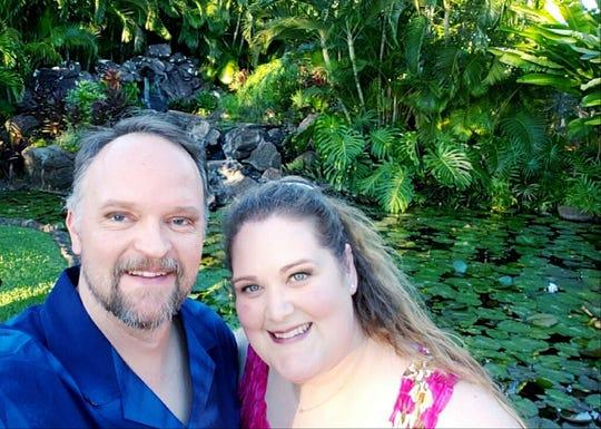 Hugh Merritt and Emily Orr on their honeymoon in Kapolei, Hawaii on November 19, 2018 after marrying on Dec. 31, 2017.