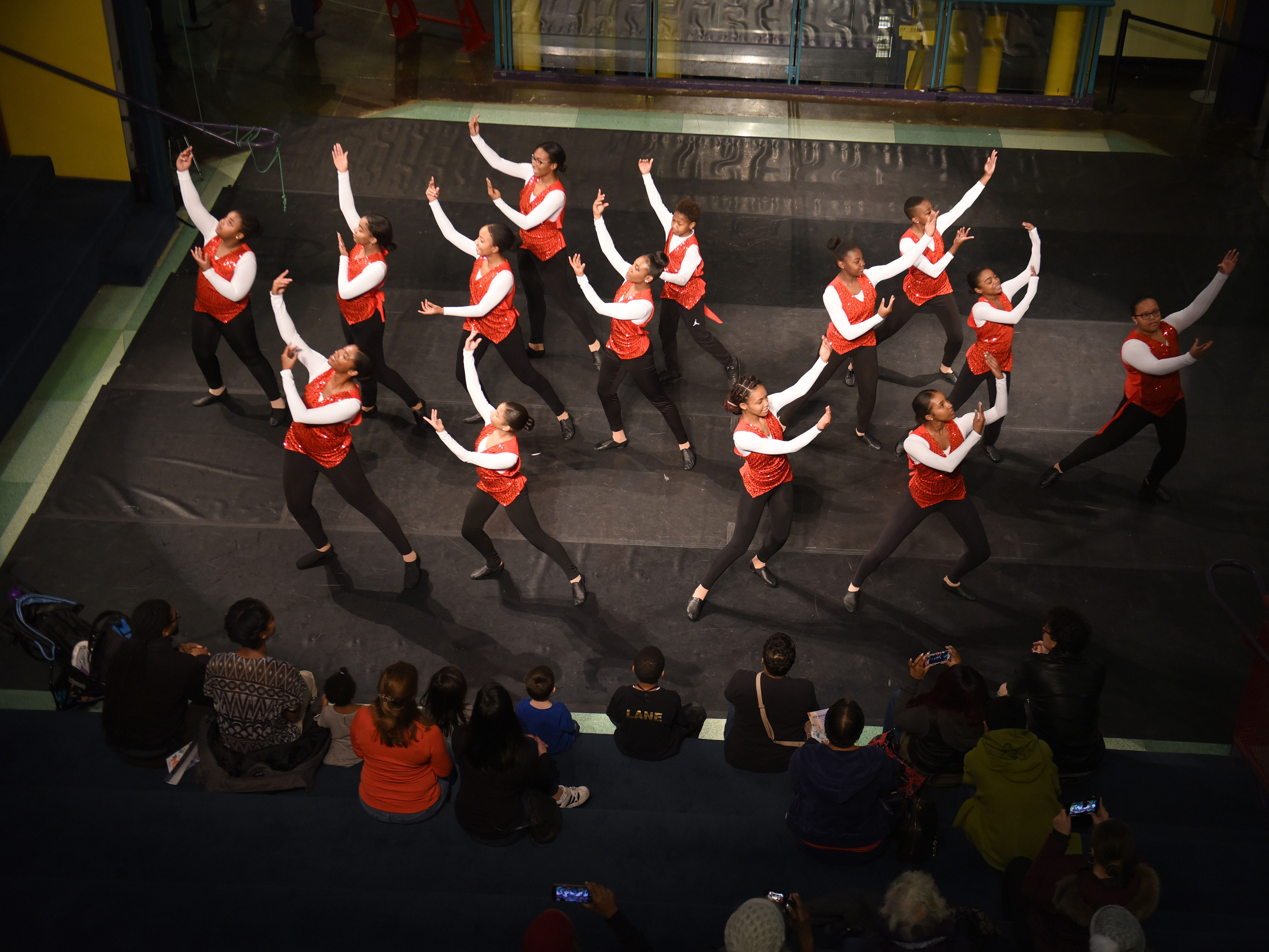 Members of the Marygrove Institute Repertory dancers perform at the Michigan Science Center.