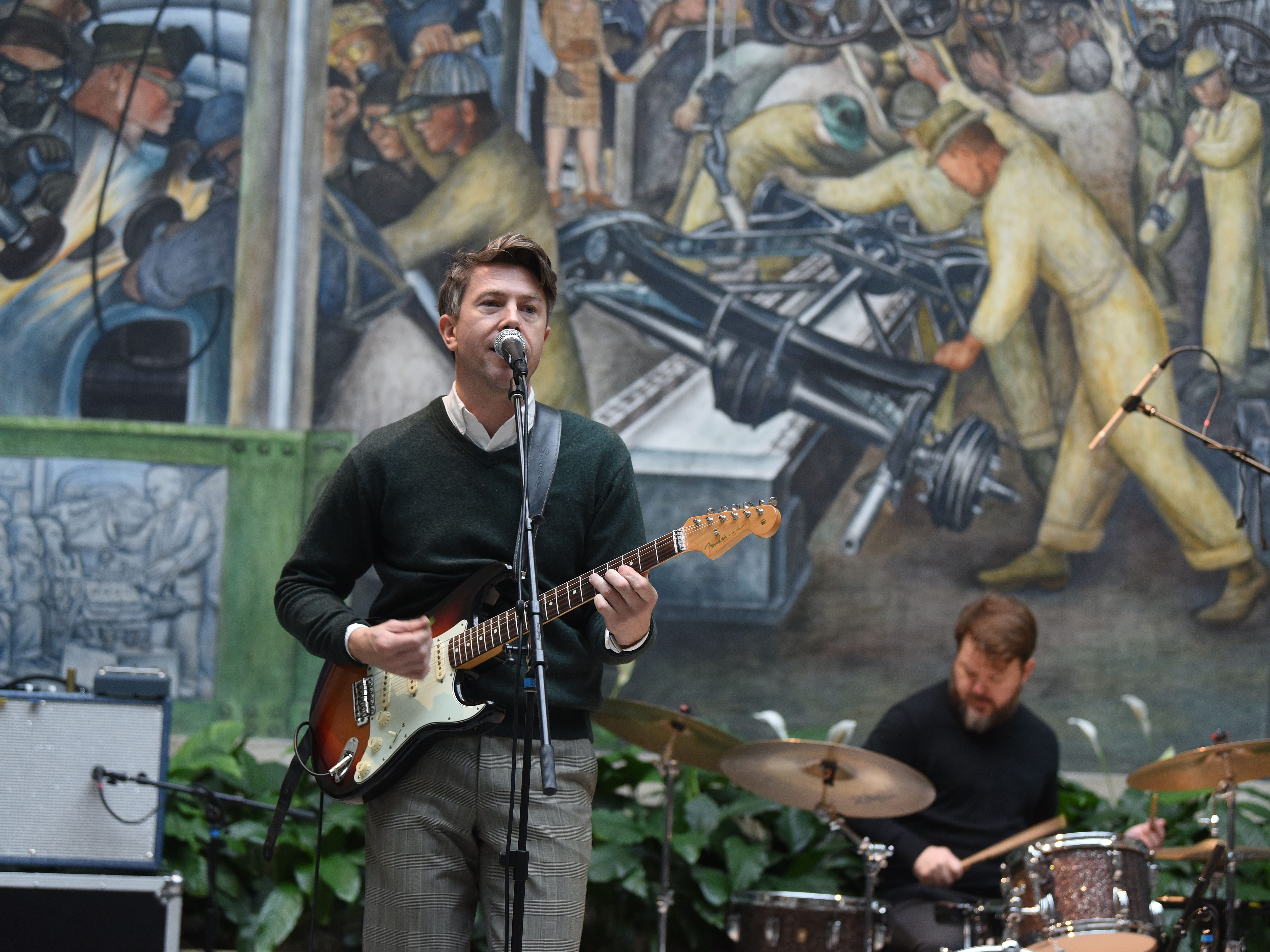 Luke Winslow-King performs at the Detroit Institute of Art's Rivera Court during Noel Night events