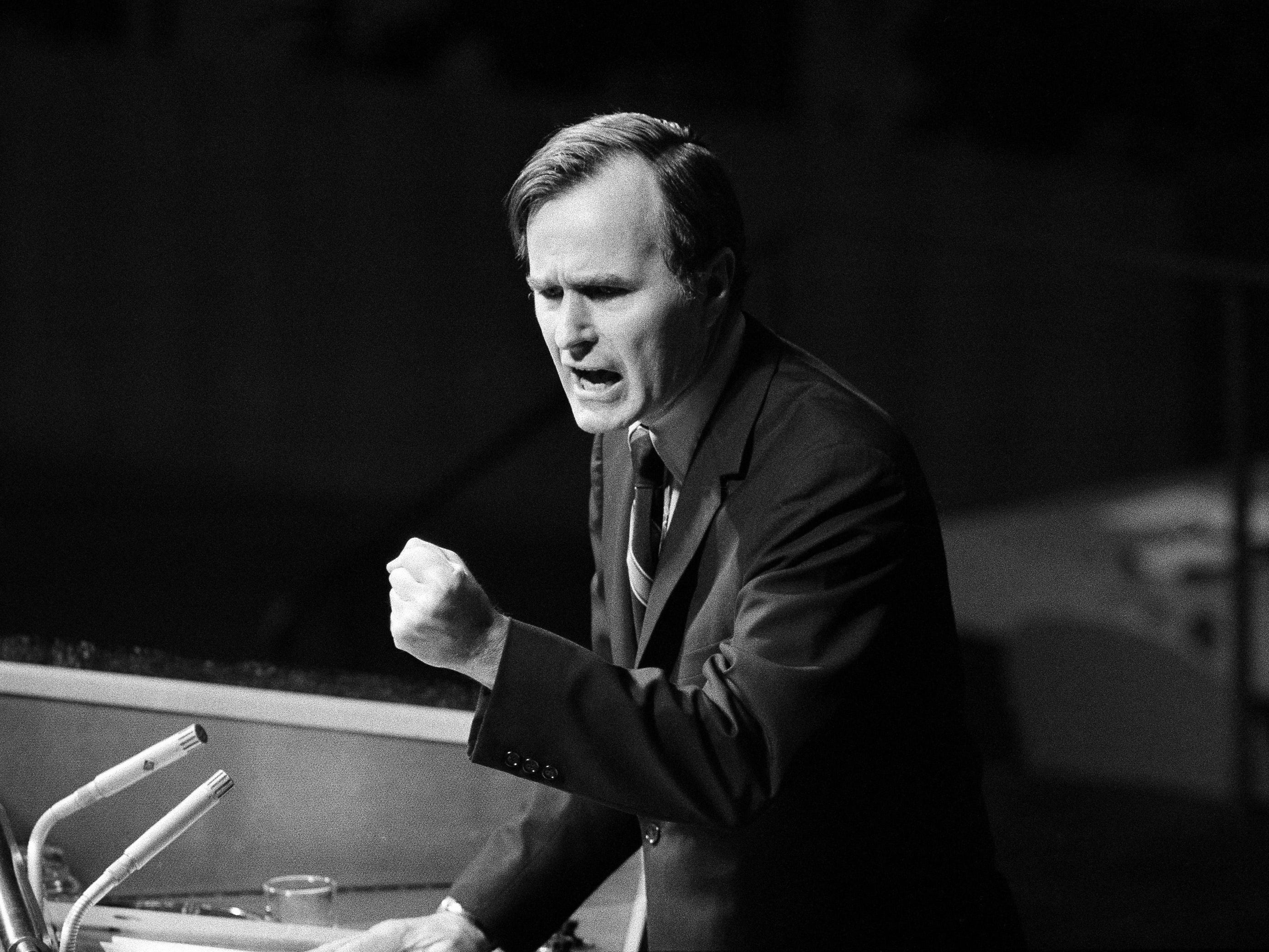 "U.S. Ambassador George H.W. Bush gestures as he addresses the United Nations General Assembly during the China debate on Oct. 18, 1971. He denied the U.S. formula was either a ""Two Chinas"" or a ""One China and one Taiwan"" plan."
