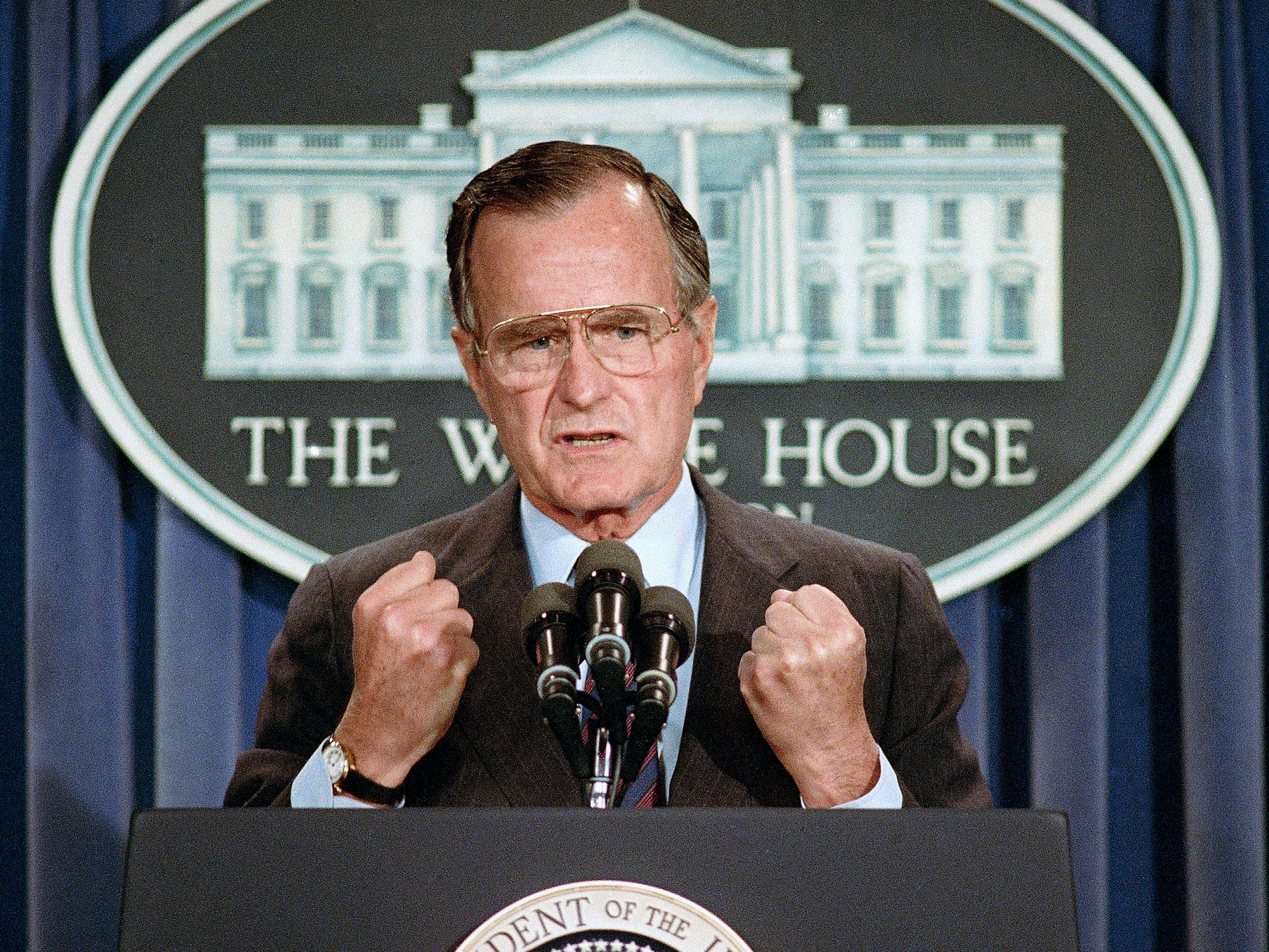 Seen on  June 5, 1989, U.S. President George H.W. Bush holds a news conference at the White House where he condemned the Chinese crackdown on pro-democracy demonstrators in Beijing's Tiananmen Square.