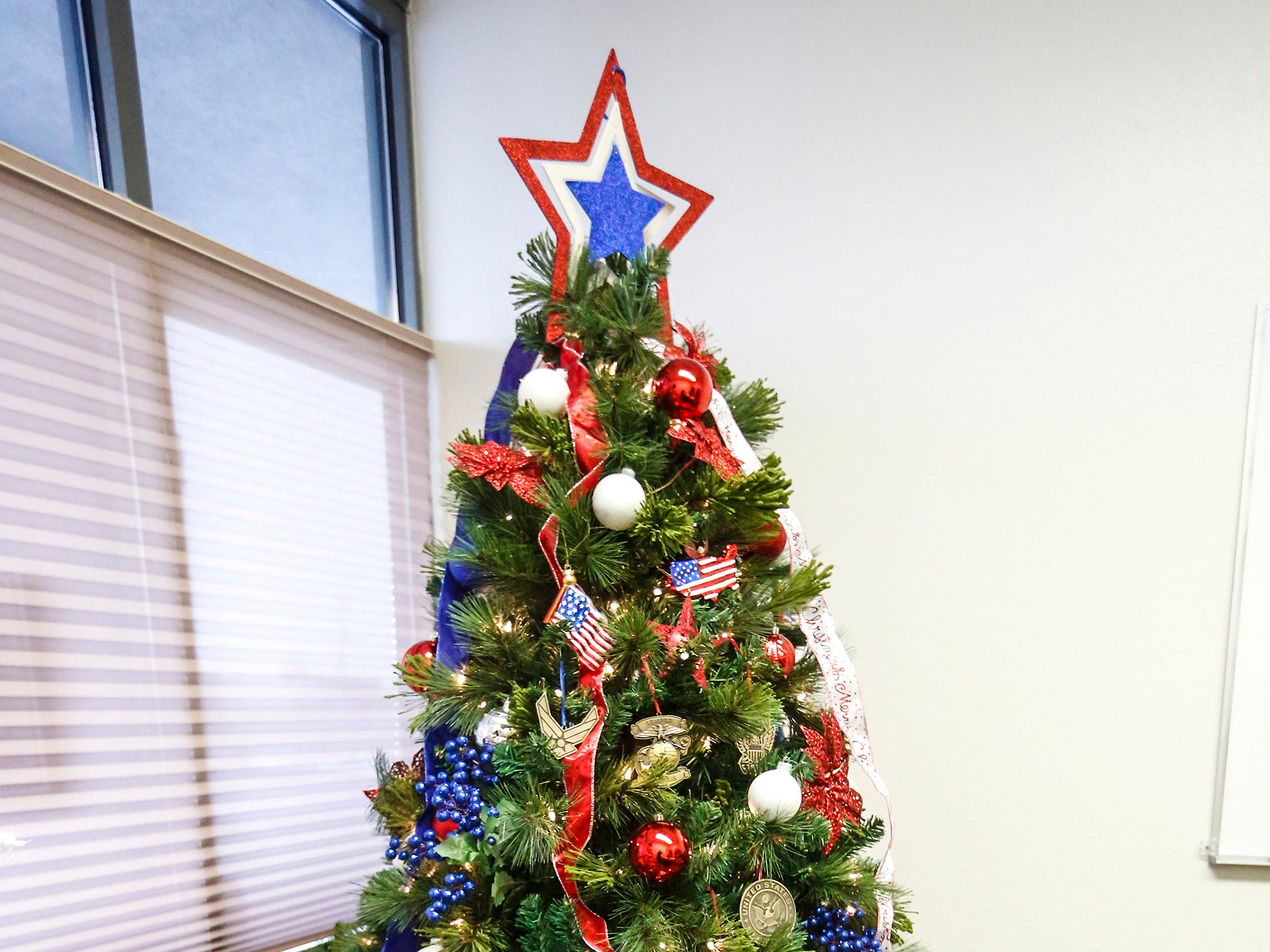 A Christmas tree decorated by Disabled Veterans of America on display Nov. 30 at Thrivent Financial, 443 N. Pioneer Road in Fond du Lac. A total of five trees made by local nonprofits are on display and can be voted on with proceeds going to the organizations.