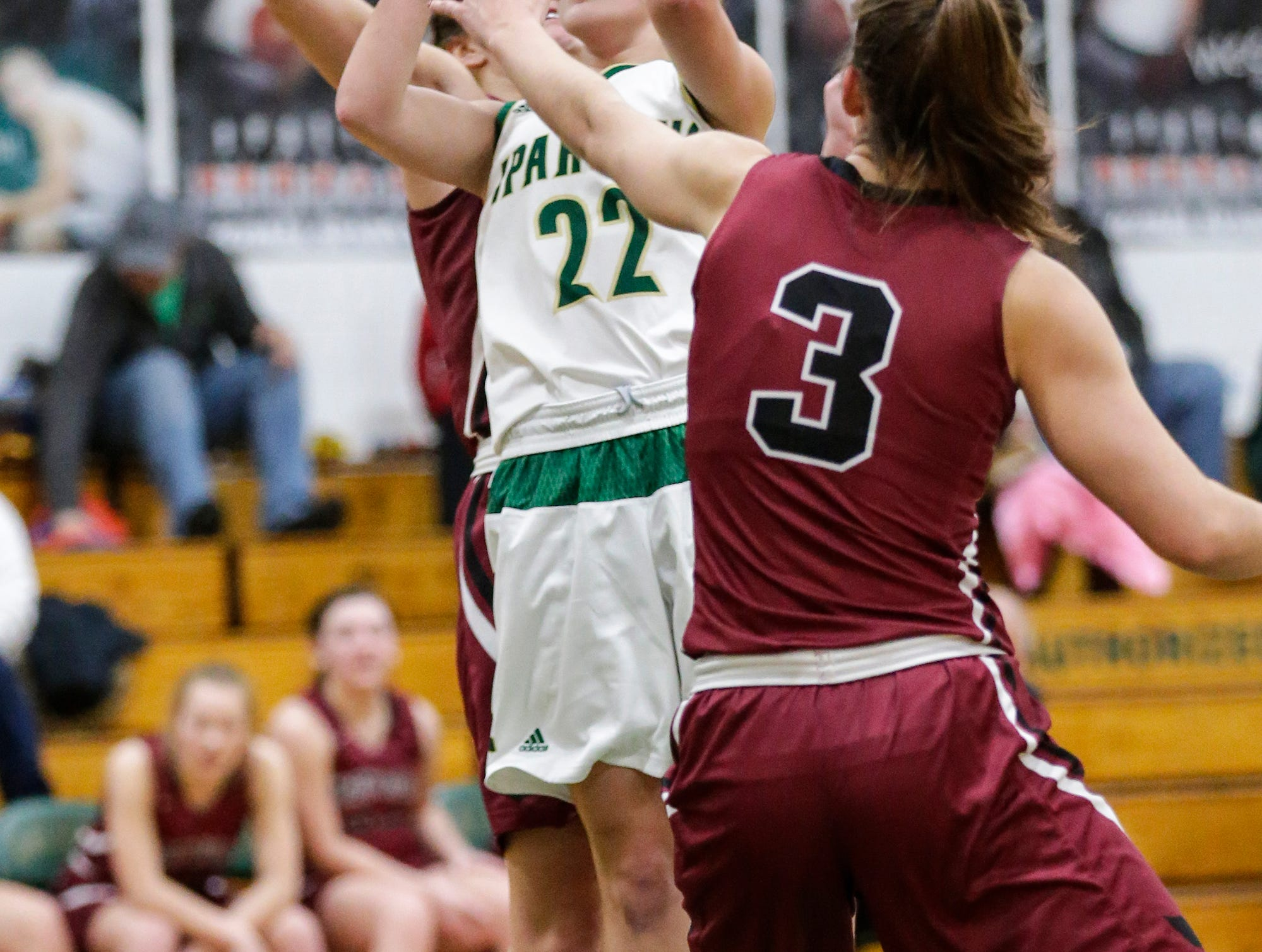 Laconia High School girls basketball's Haley Rens shoots for the basket against Mayville High School's Amber Schraufnagel during their game Friday, November 30, 2018 in Rosendale. Doug Raflik/USA TODAY NETWORK-Wisconsin