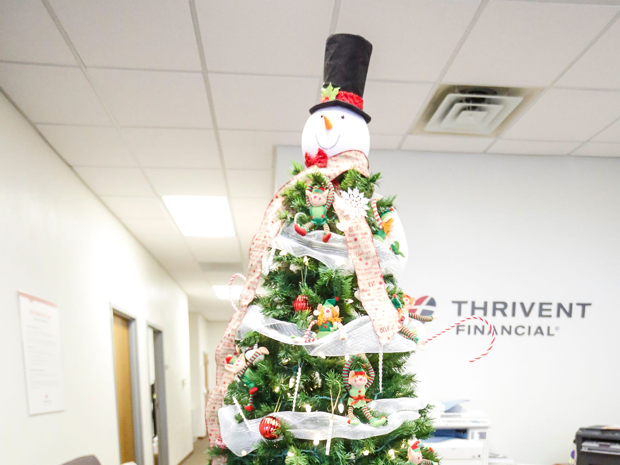 A Christmas tree decorated by Fondy Food Pantry on display Nov. 30 at Thrivent Financial at 443 N. Pioneer Road in Fond du Lac. A total of five trees made by local nonprofits are on display and can be voted on with proceeds going to the organizations.