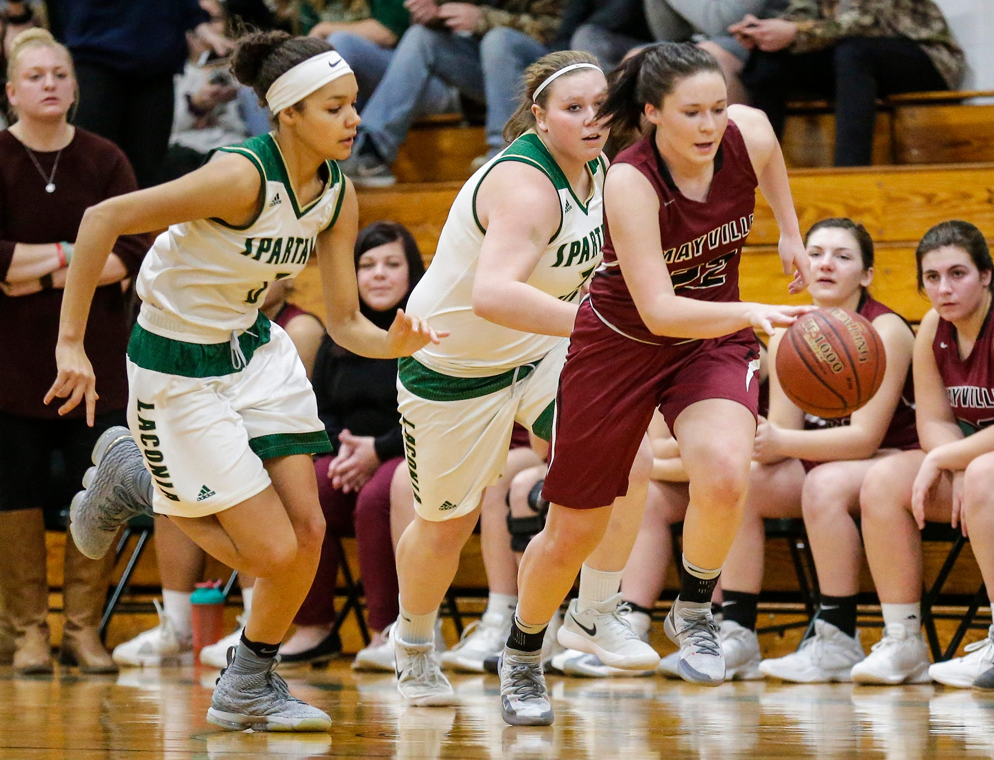 Mayville High School girls basketball's Reannah Zimmer works the ball down the court away from Laconia High School's Kiarra Otto and Abby Luczak during their game Friday, November 30, 2018 in Rosendale. Doug Raflik/USA TODAY NETWORK-Wisconsin