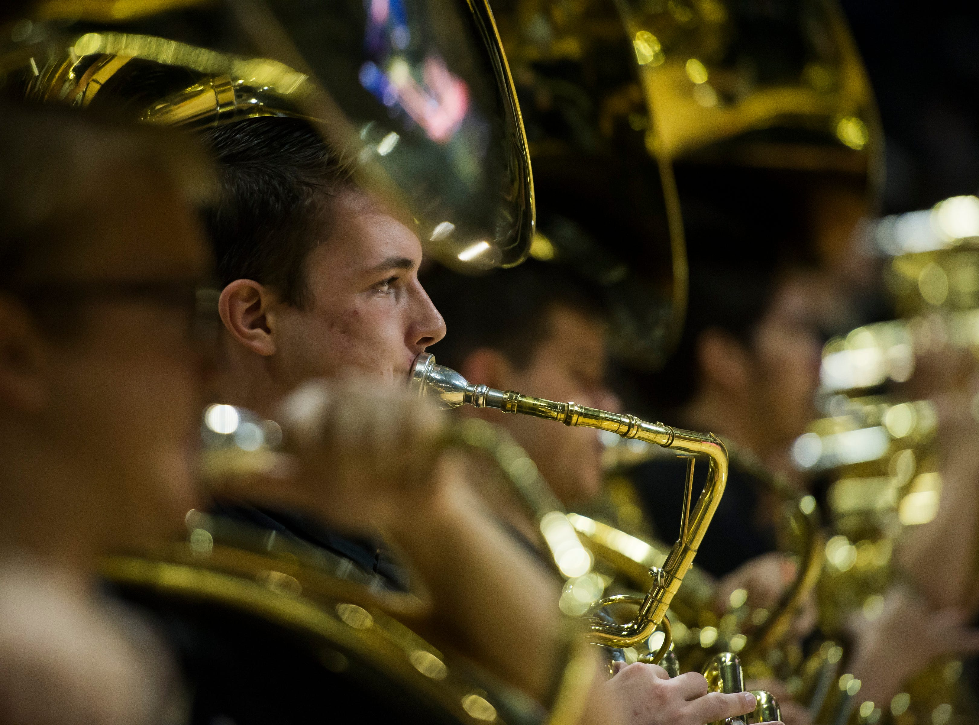 The University of Colorado band plays before a game against Colorado State University on Saturday, Dec. 1, 2018, at the CU Event Center in Boulder, Colo.