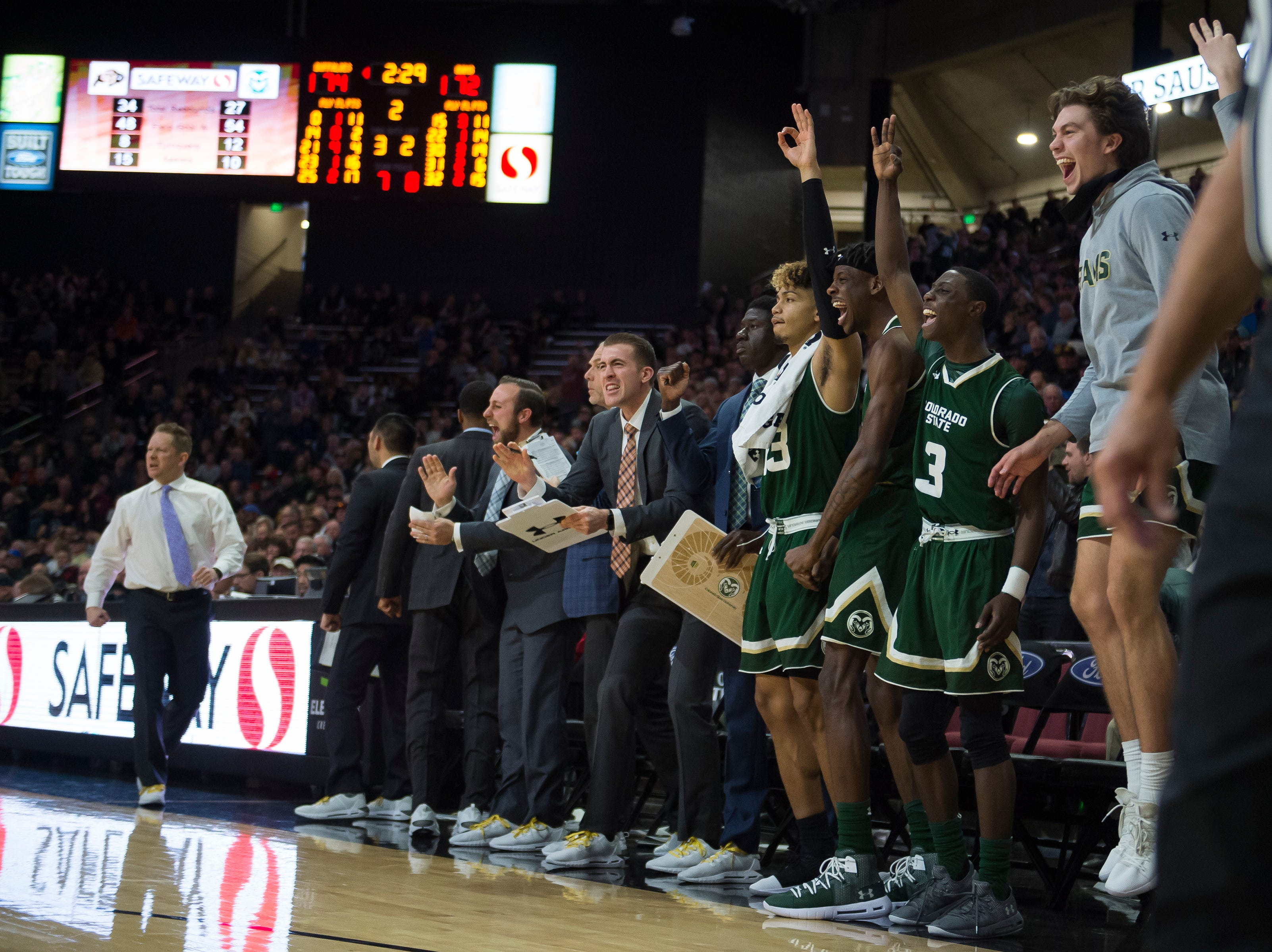 The Colorado State University bench reacts to play during a game against the University of Colorado on Saturday, Dec. 1, 2018, at the CU Event Center in Boulder, Colo.