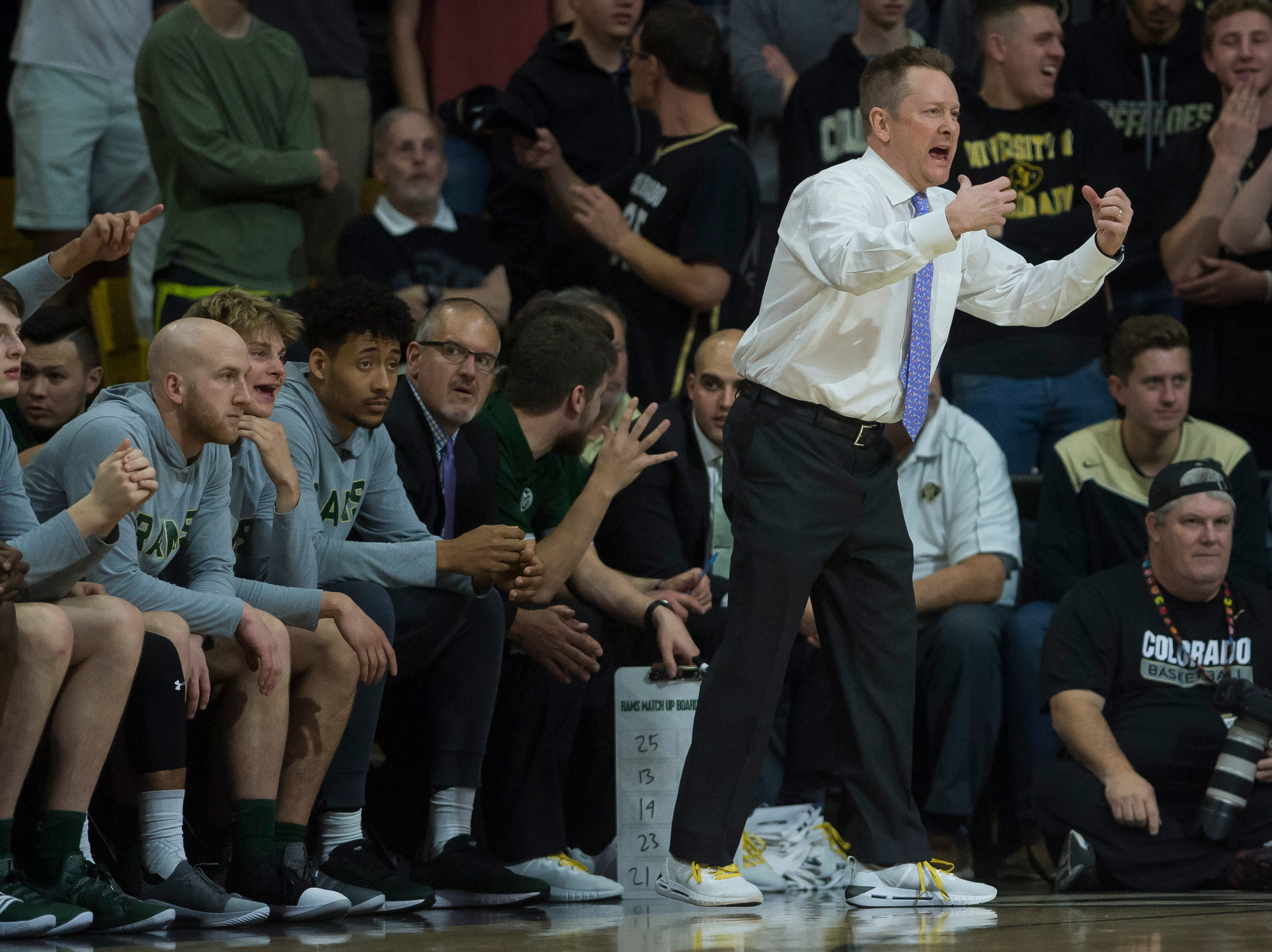 Colorado State University head coach Niko Medved reacts to a play during a game against the University of Colorado on Saturday, Dec. 1, 2018, at the CU Event Center in Boulder, Colo.