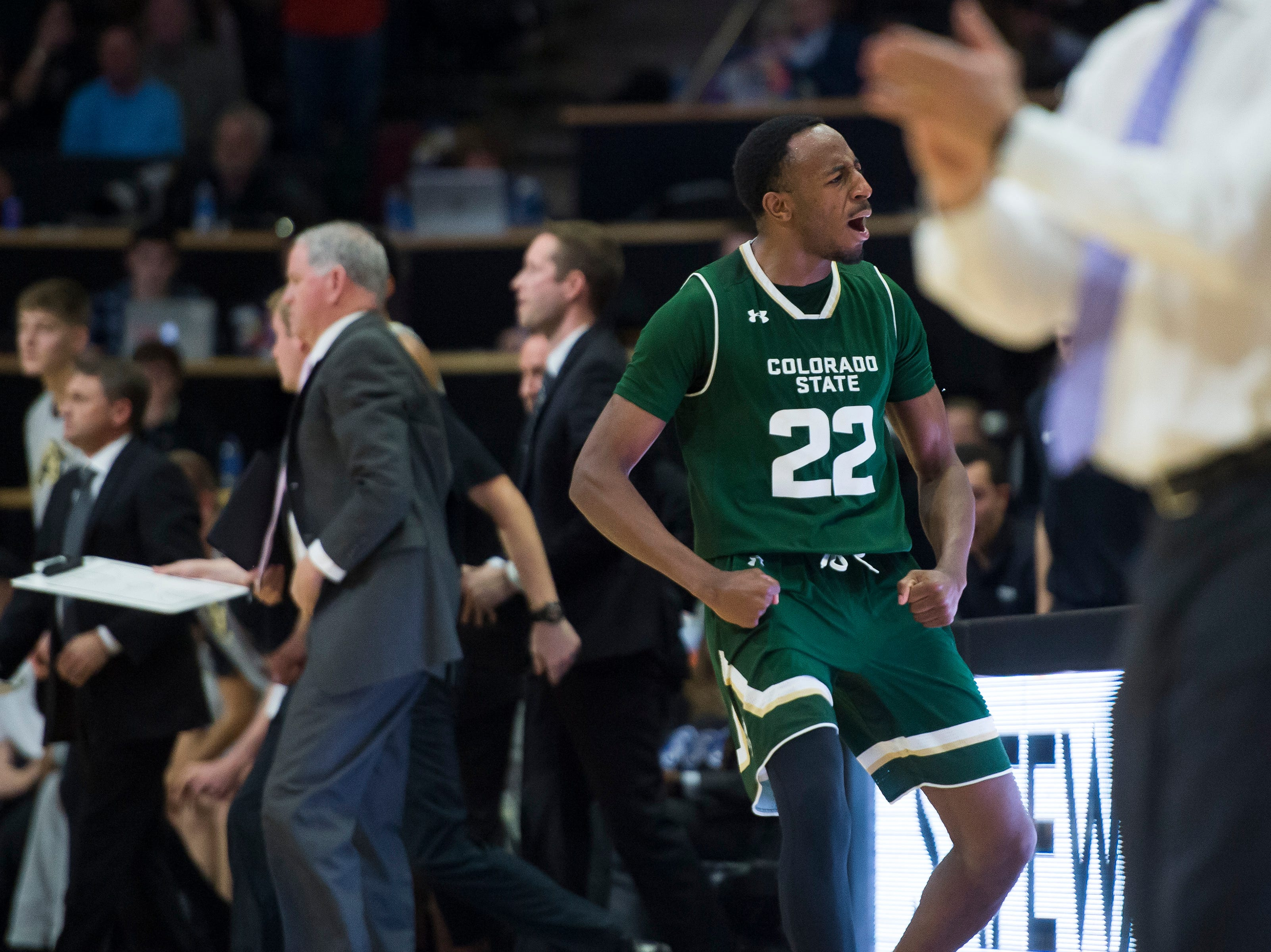 Colorado State University senior guard J.D. Paige (22) reacts during a game against the University of Colorado on Saturday, Dec. 1, 2018, at the CU Event Center in Boulder, Colo.