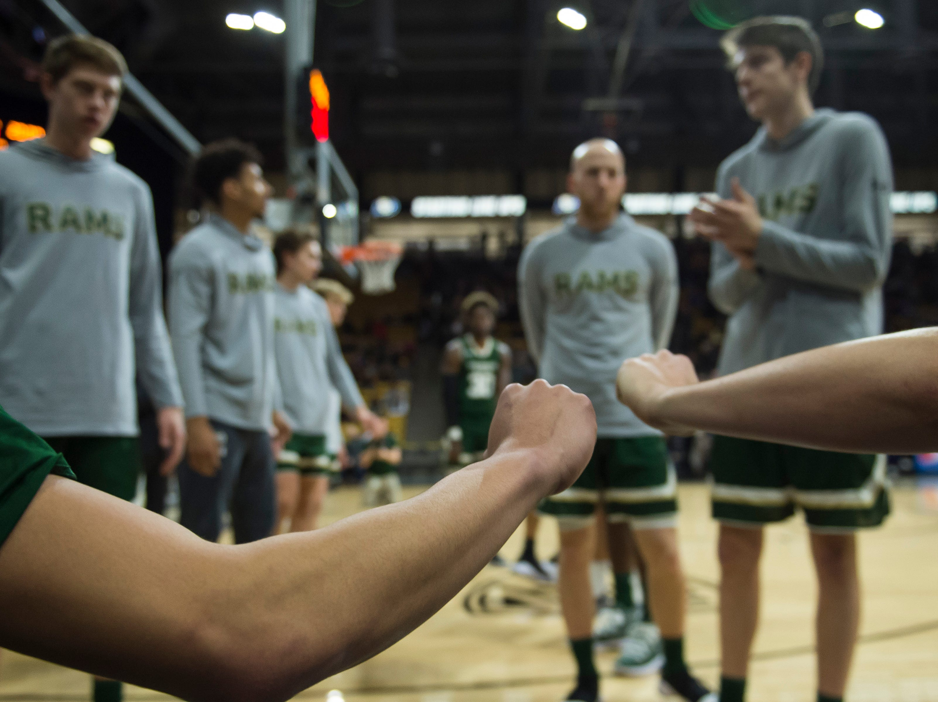 Colorado State University players are introduced before a game against the University of Colorado on Saturday, Dec. 1, 2018, at the CU Event Center in Boulder, Colo.