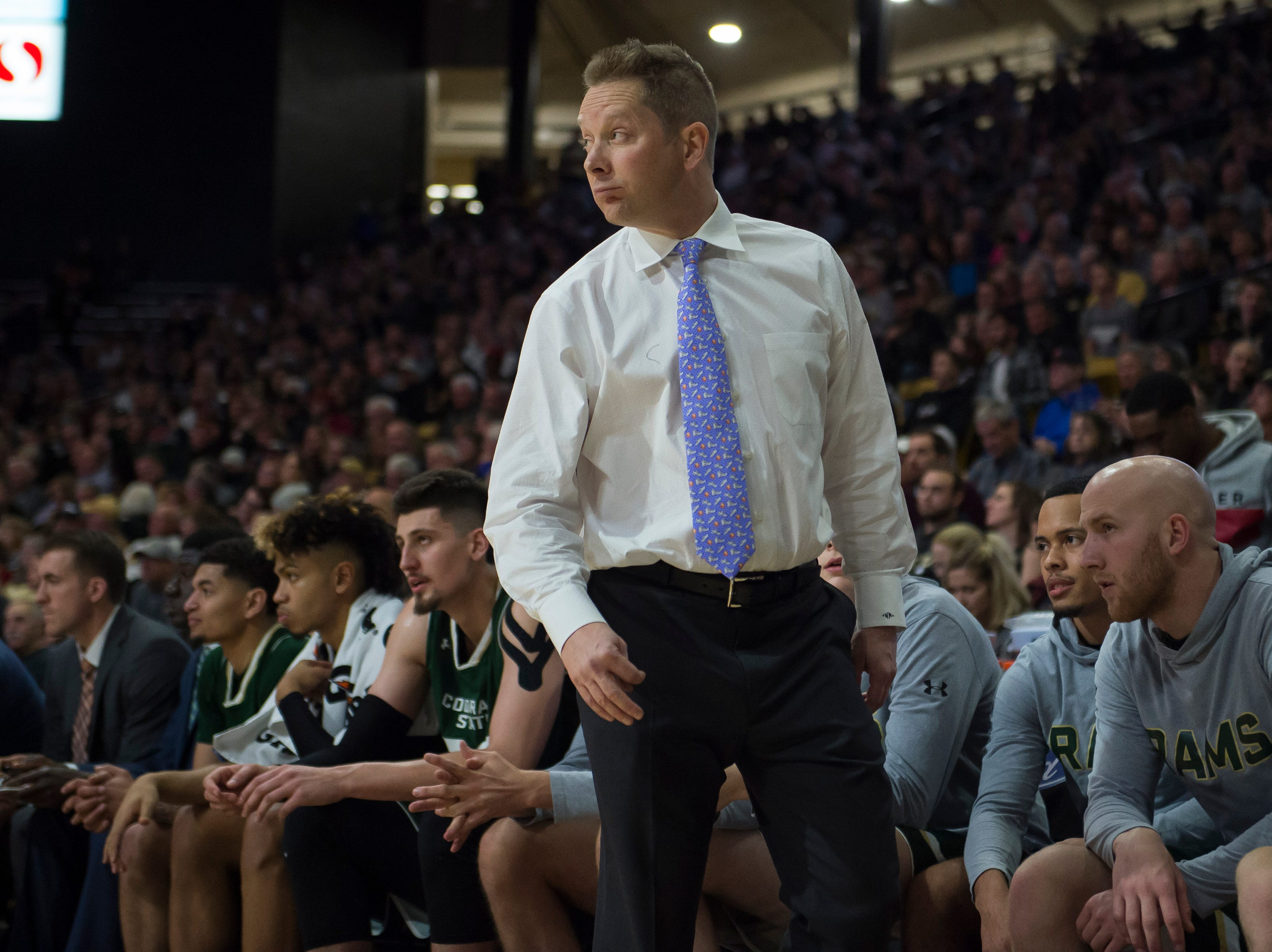 Colorado State University head coach Niko Medved looks on during a game against the University of Colorado on Saturday, Dec. 1, 2018, at the CU Event Center in Boulder, Colo.