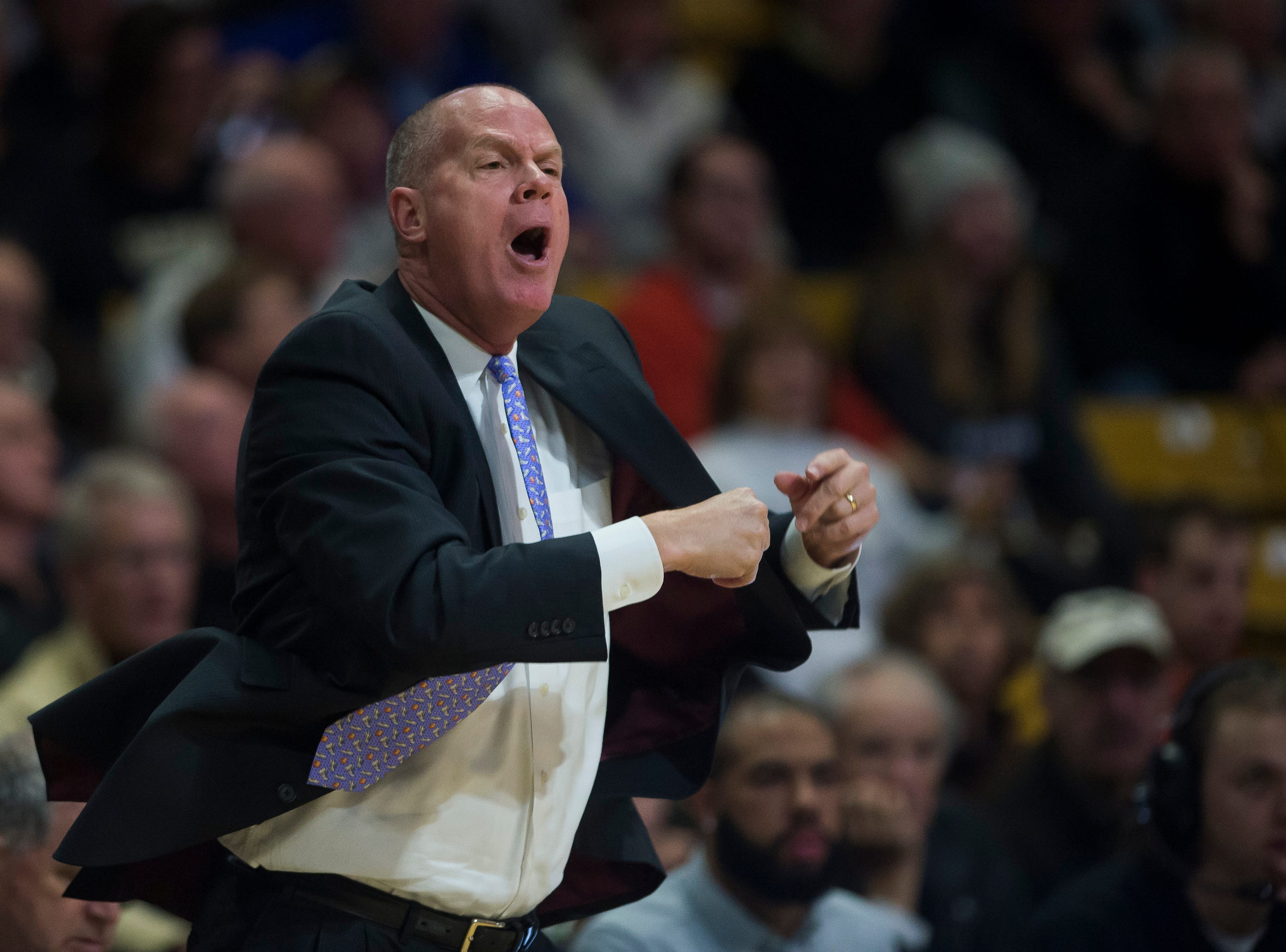 University of Colorado head coach Tad Boyle yells from the bench during a game against Colorado State University on Saturday, Dec. 1, 2018, at the CU Event Center in Boulder, Colo.