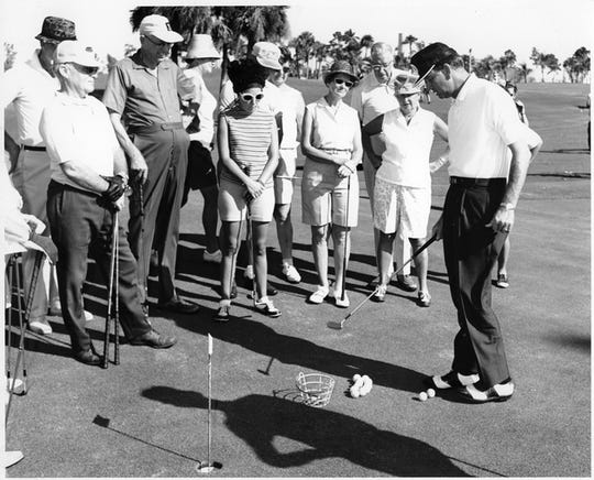 Ed Caldwell giving lessons at the Cape Coral Golf and Country Club in the 1960s.